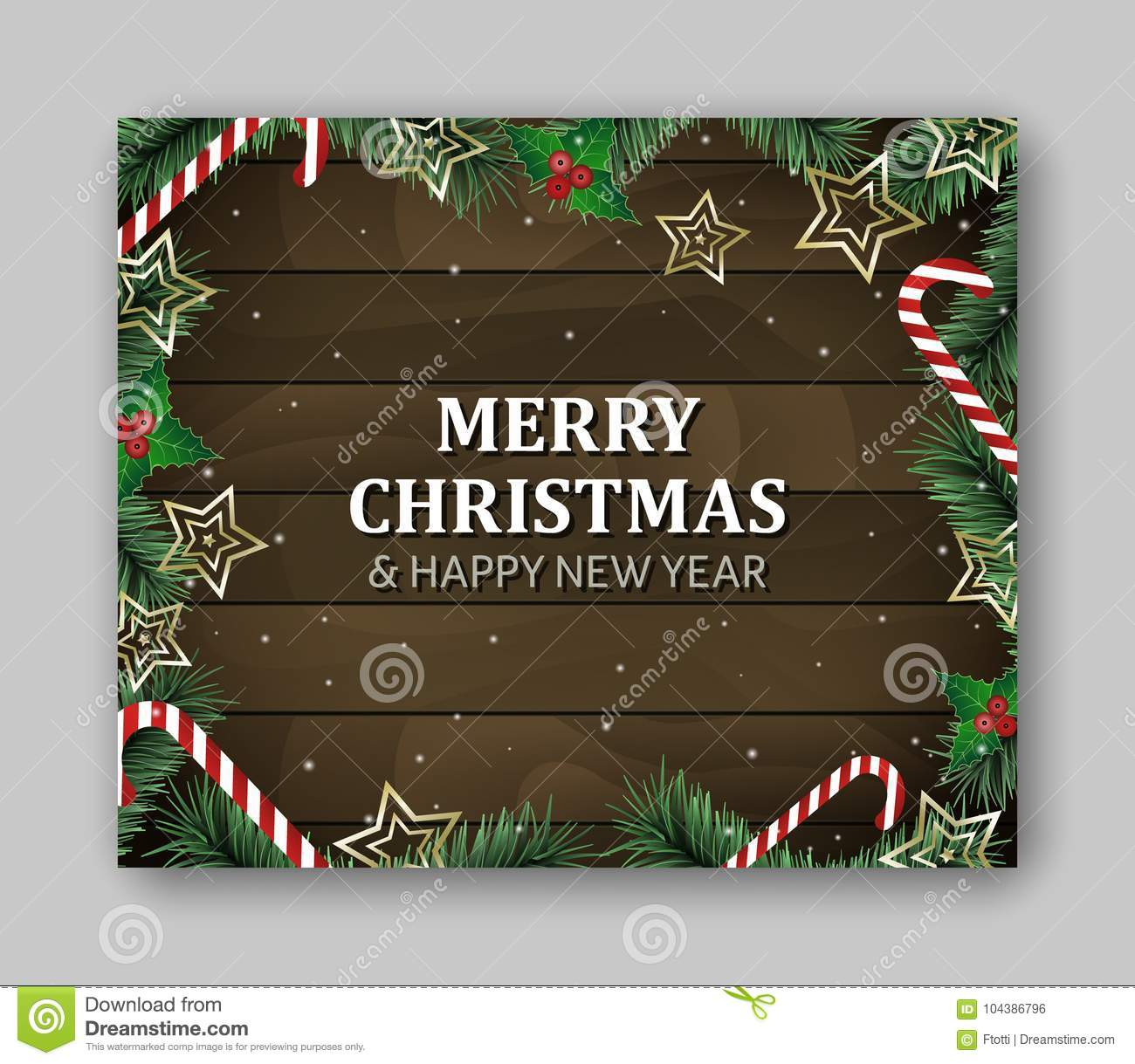 banner template large rectangle with merry christmas and happy new year lettering green branches