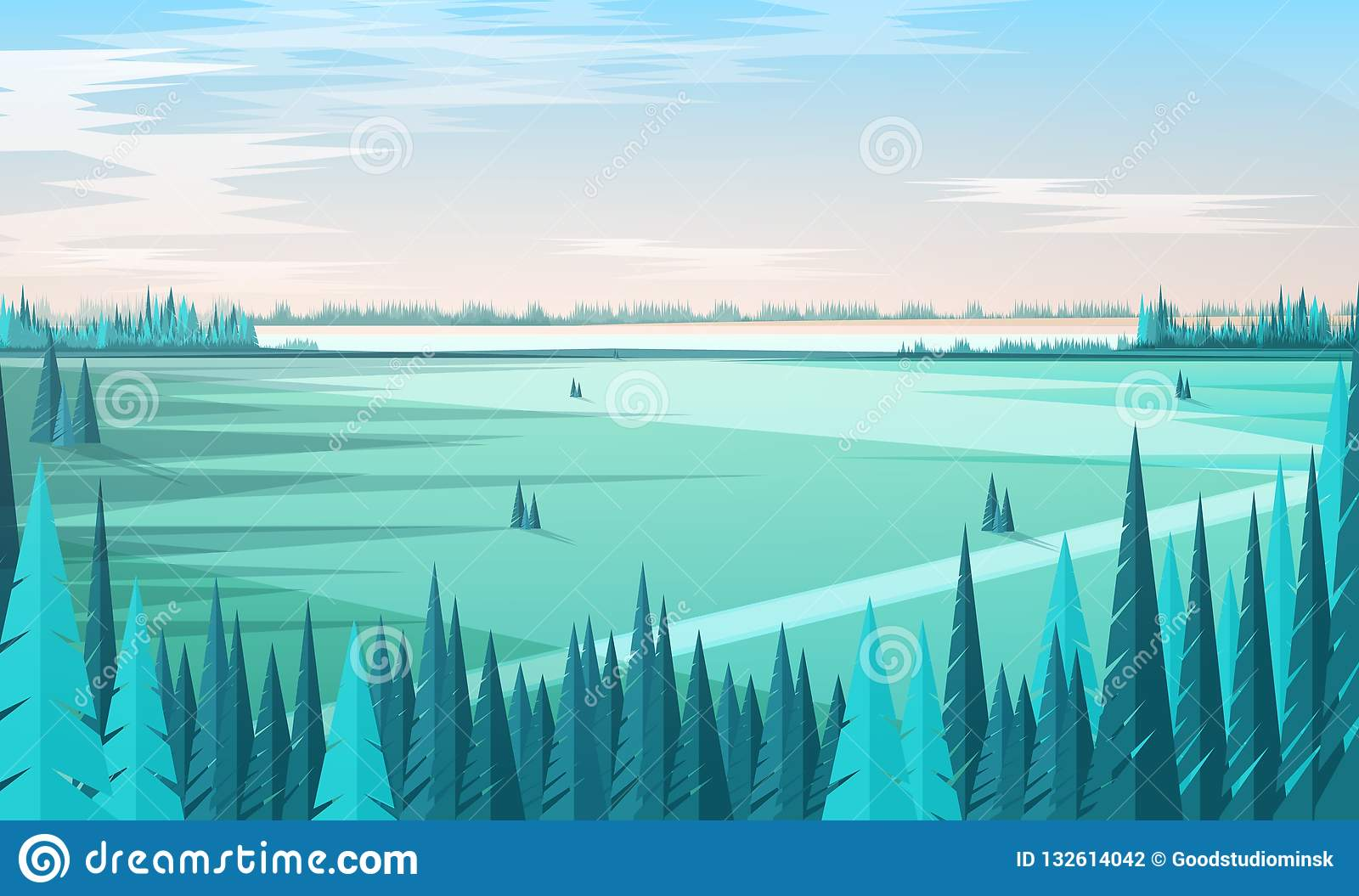 Banner template with natural scenery or landscape, green coniferous forest trees on foreground, large field, horizon