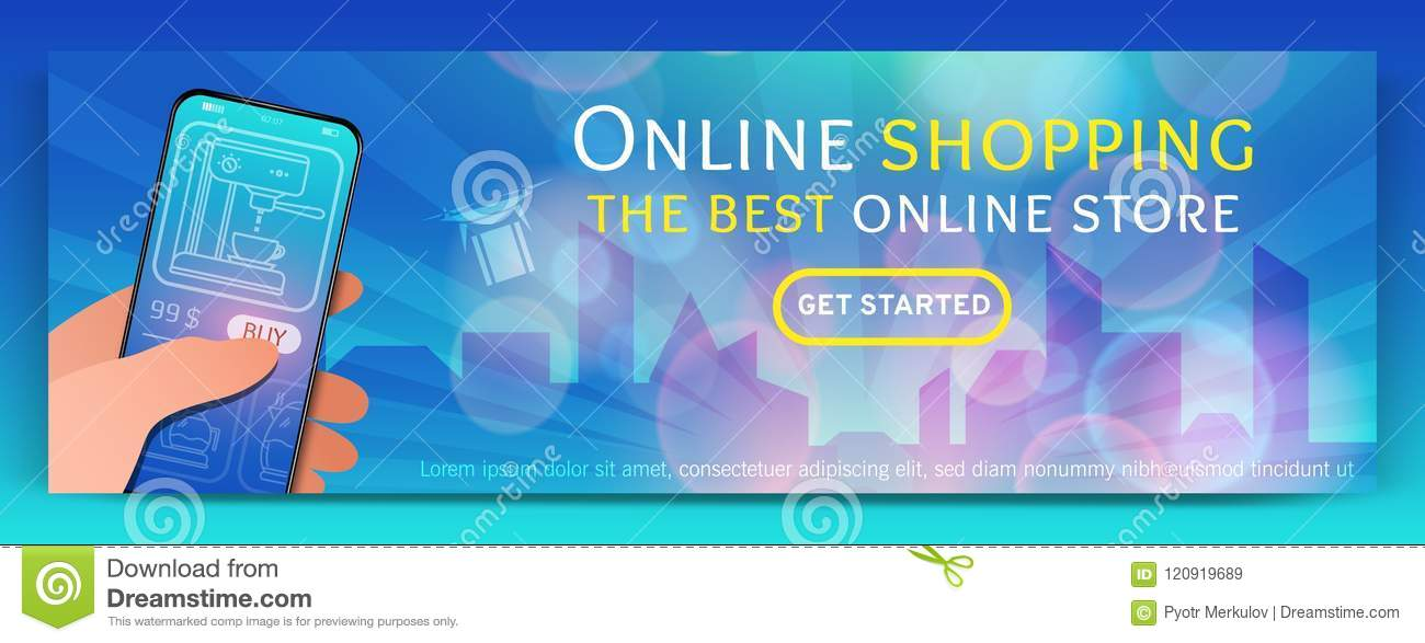 Banner Template Of Online Shopping And E Commerce Modern Flat Design Concept Of Web Page Design For Mobile Website Stock Vector Illustration Of Character Booklet 120919689