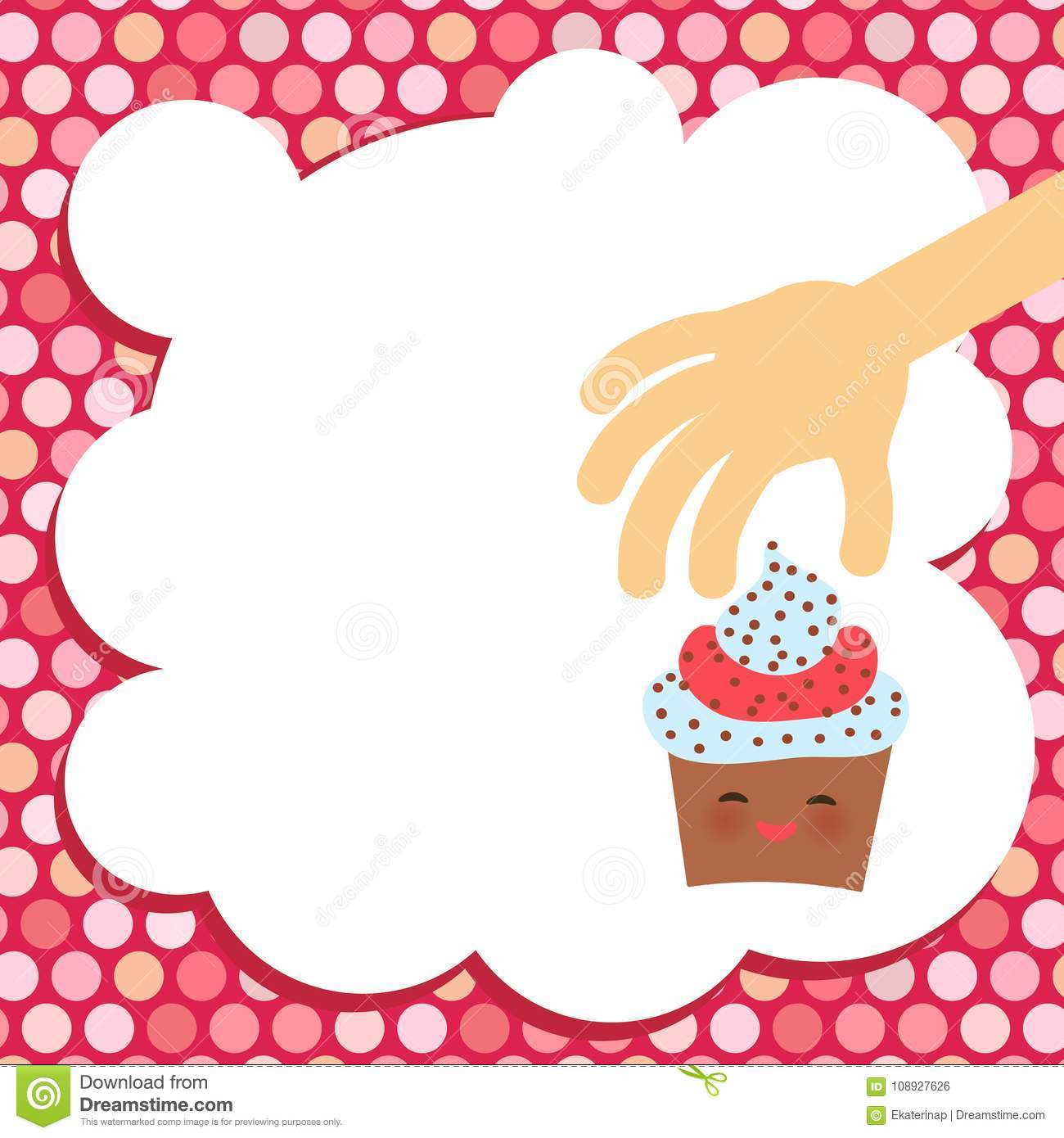banner template for your text card design with cupcake kawaii funny