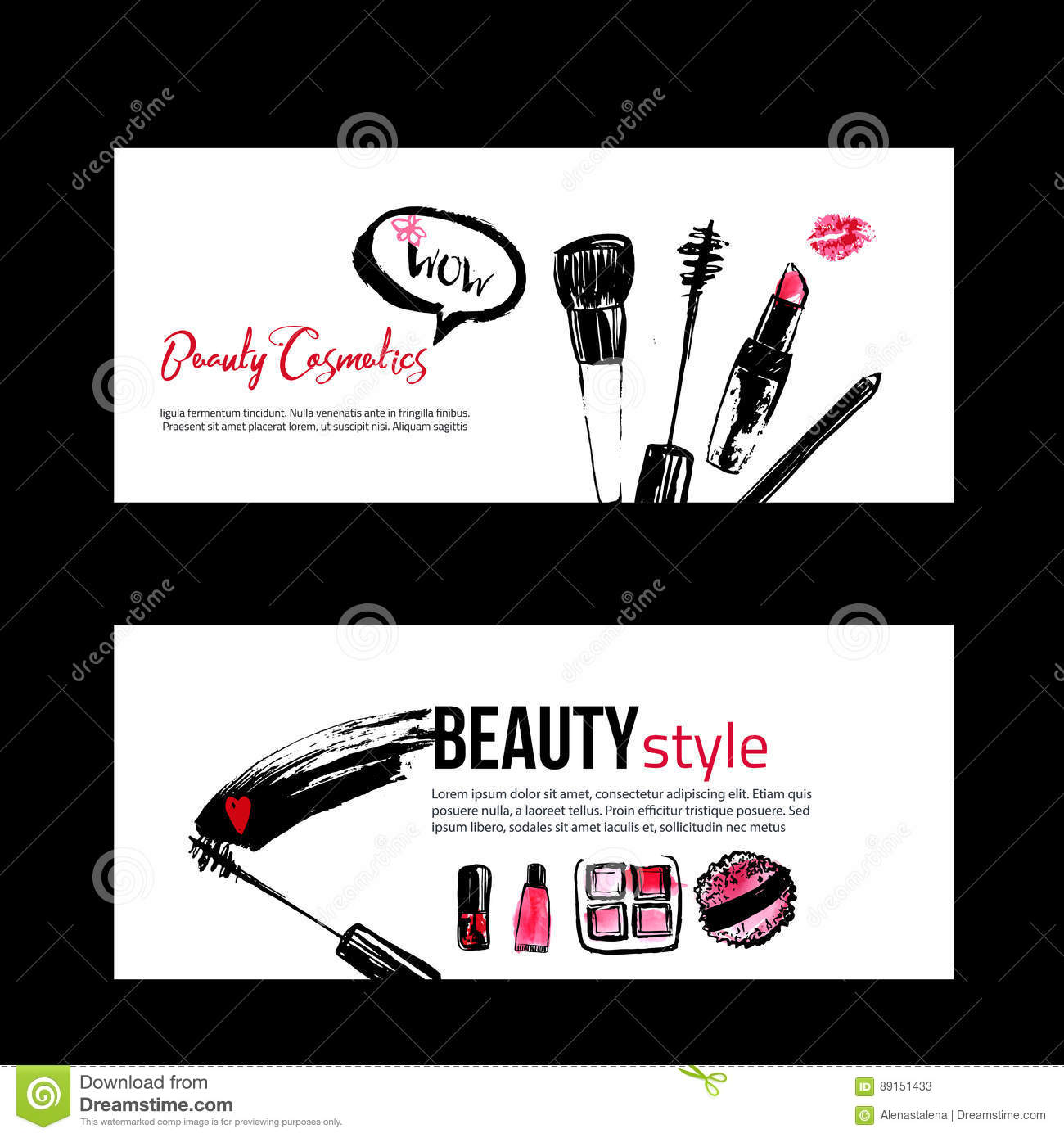 Banner templates for makeup artist stock vector illustration of banner templates for makeup artist royalty free vector alramifo Image collections