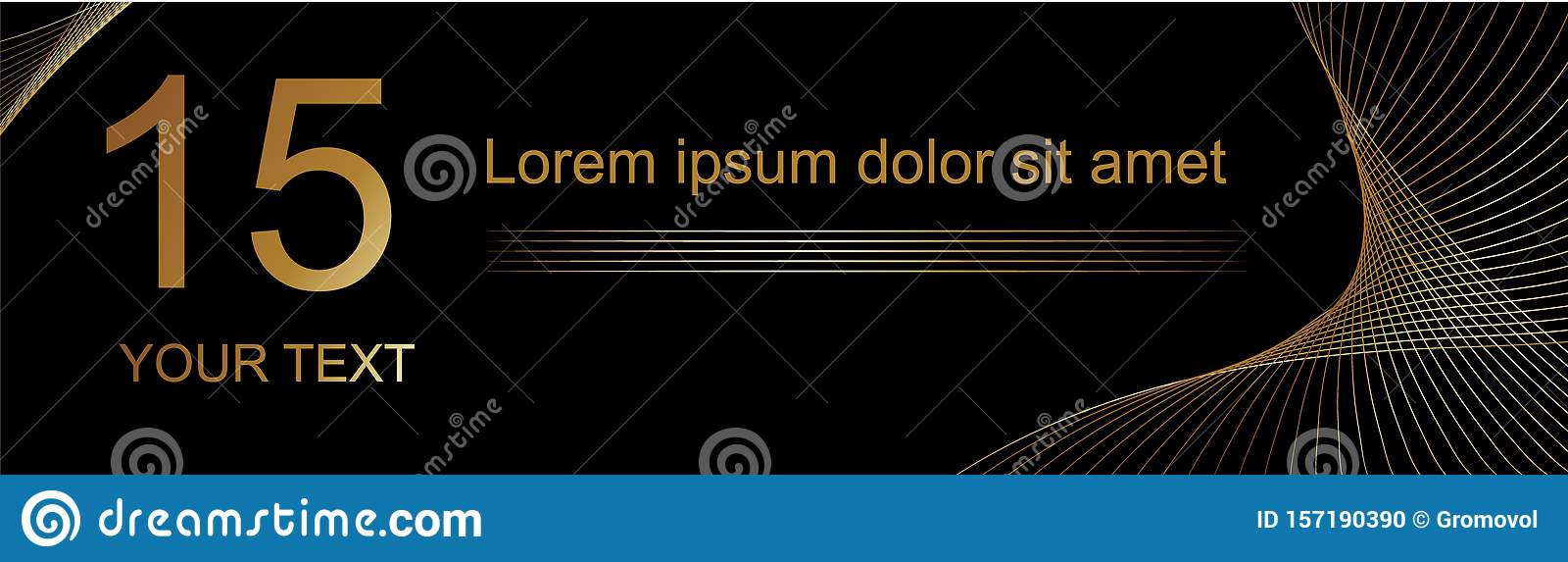 Banner Title Made In Gold Text On A Black Background For The Design Of Musical Events Albums Music Discs Stock Vector Illustration Of Vector Music 157190390