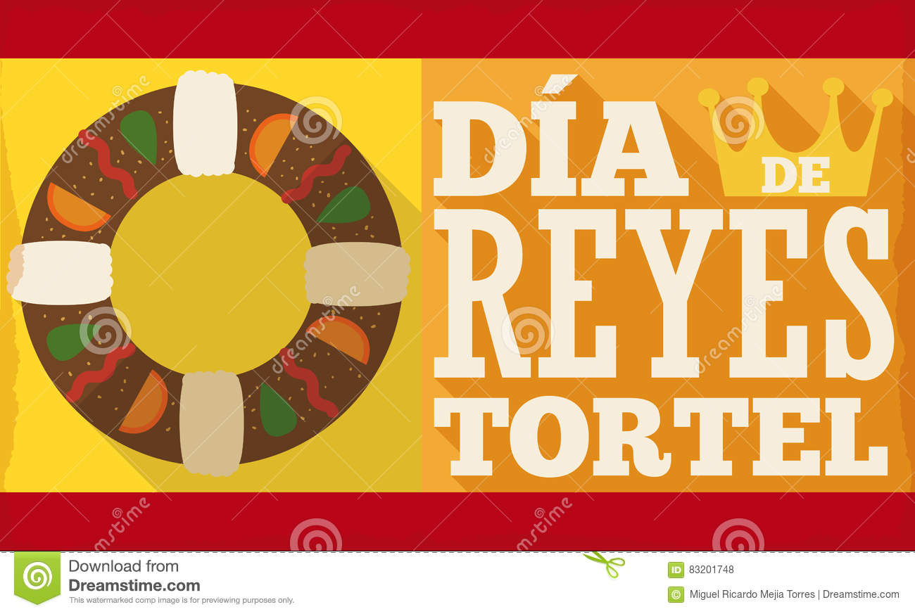 Banner With Tortell And Crown For Spanish `Dia De Reyes