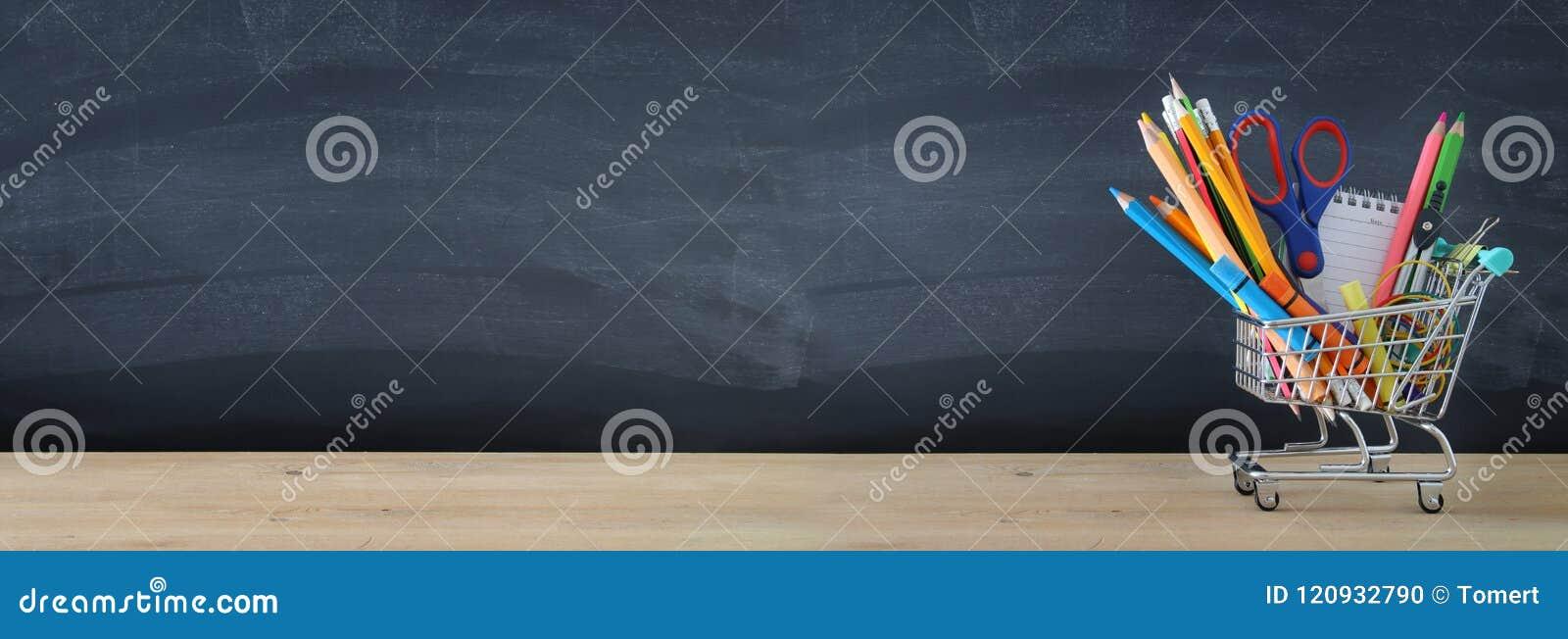 Banner van Boodschappenwagentje met schoollevering voor bord Terug naar het Concept van de School