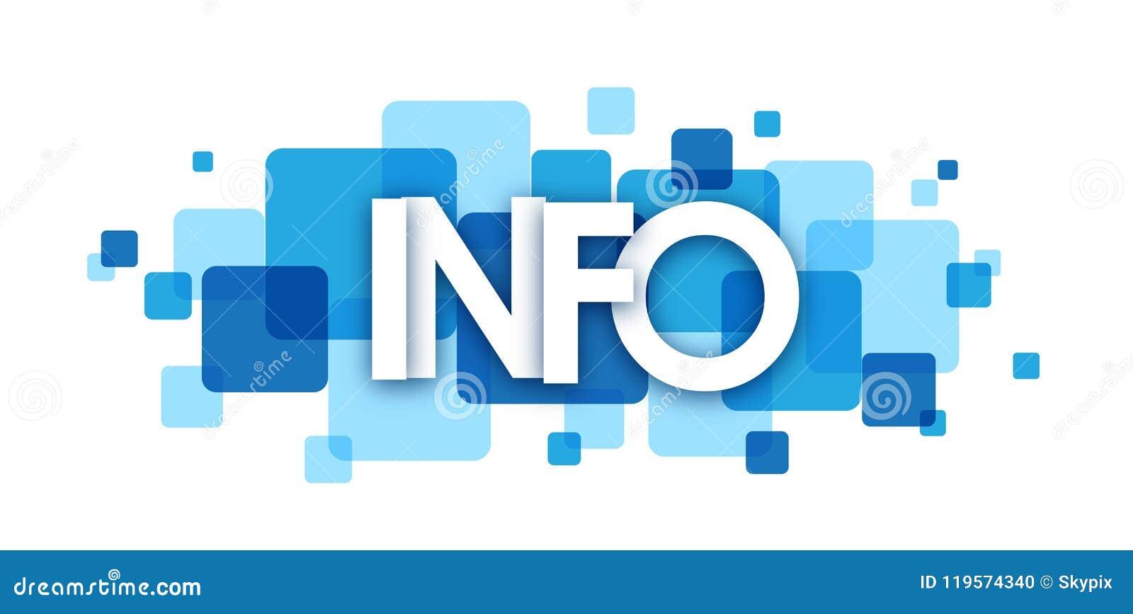 Banner van INFORMATIE de blauwe overlappende vierkanten