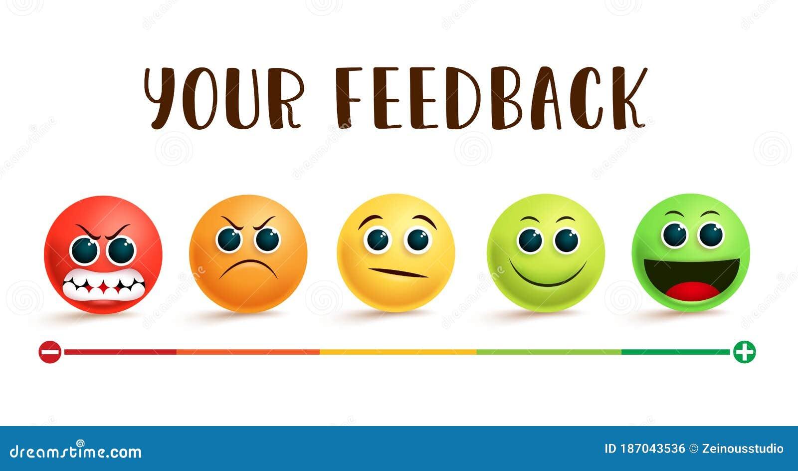 Banner vettoriale di valutazione del feedback emoji. il tuo messaggio di feedback con le emoticon sorridenti in diverse espression