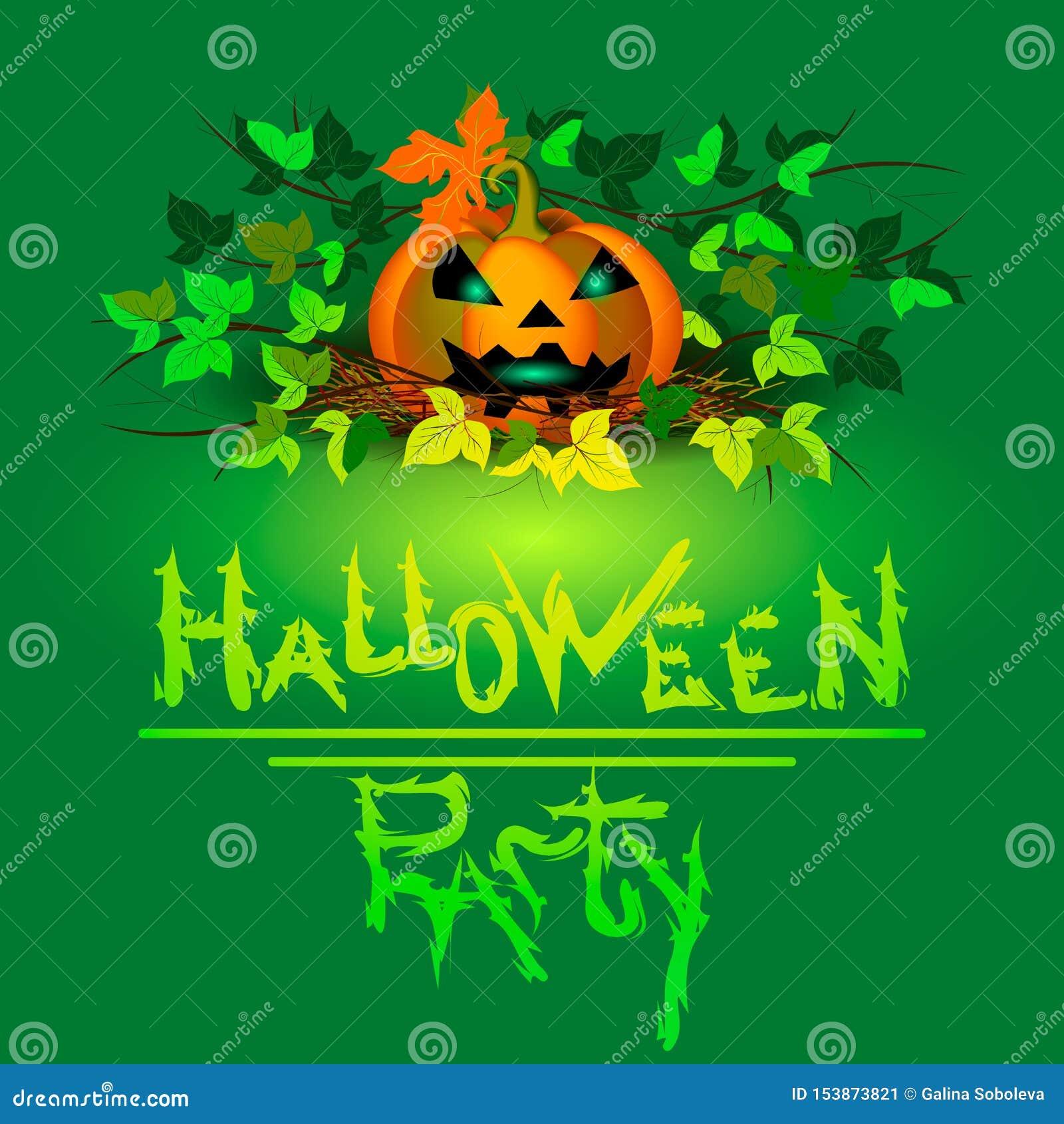 Banner voor Halloween Pompoen met gloeiende ogen onder het gebladerte op een groene achtergrond