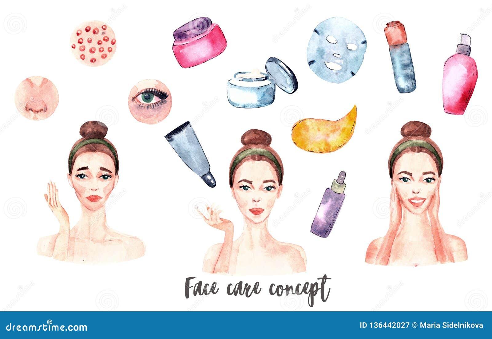Banner Watercolor Acne Pimples Wrinkles Dry Skin Blackheads Dark Circles Under Eyes Stock Illustration Illustration Of Oils Cosmetics 136442027