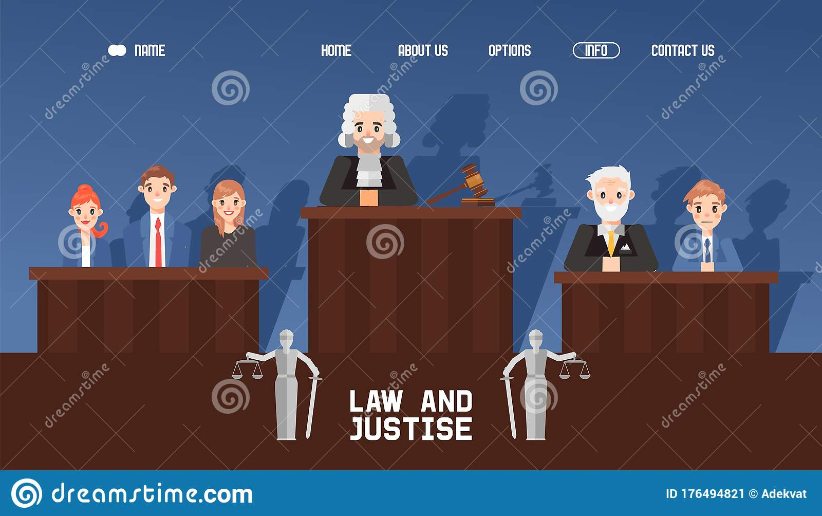 banner web law and justice court with jury and judge waiting case vector illustration contact about us home stock vector illustration of button holy 176494821