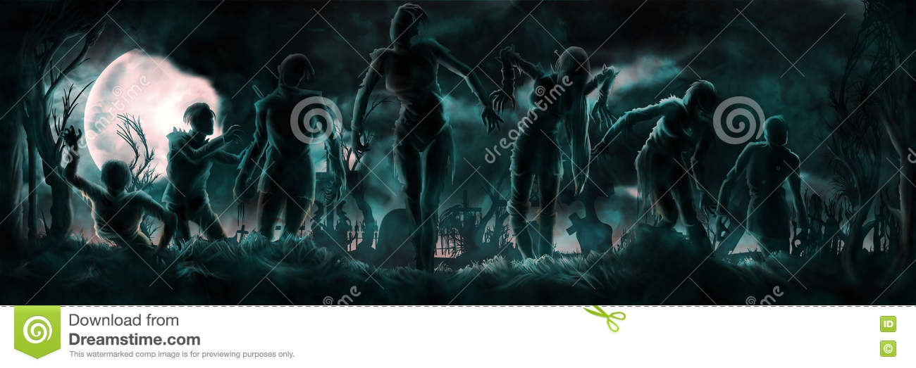 Banner with zombies silhouettes