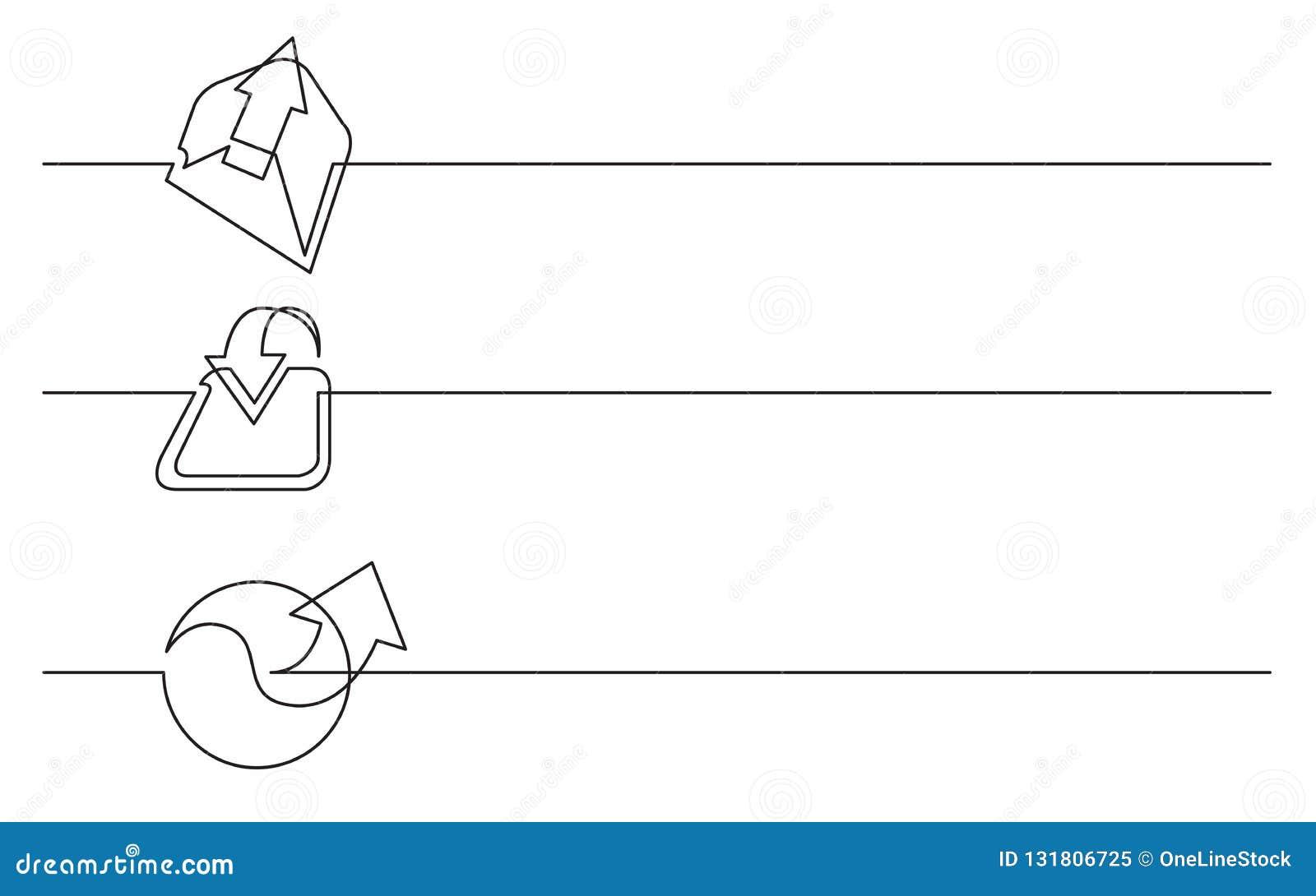 Bannerontwerp - ononderbroken lijntekening van bedrijfspictogrammen: uitgaande e-mail, download, verbinding