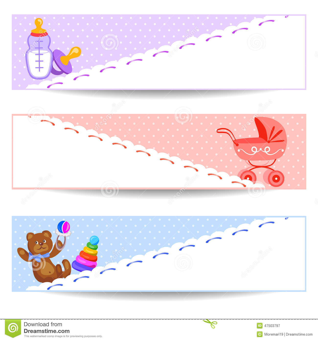 Banners With Baby Items Stock Vector - Image: 47503797