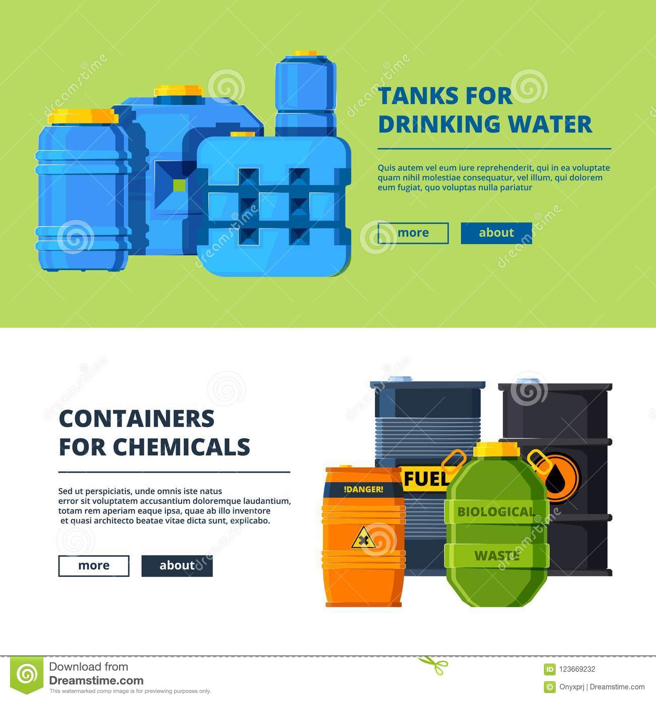 Banners with barrels. Various horizontal banners template with illustrations of different water and oil tanks