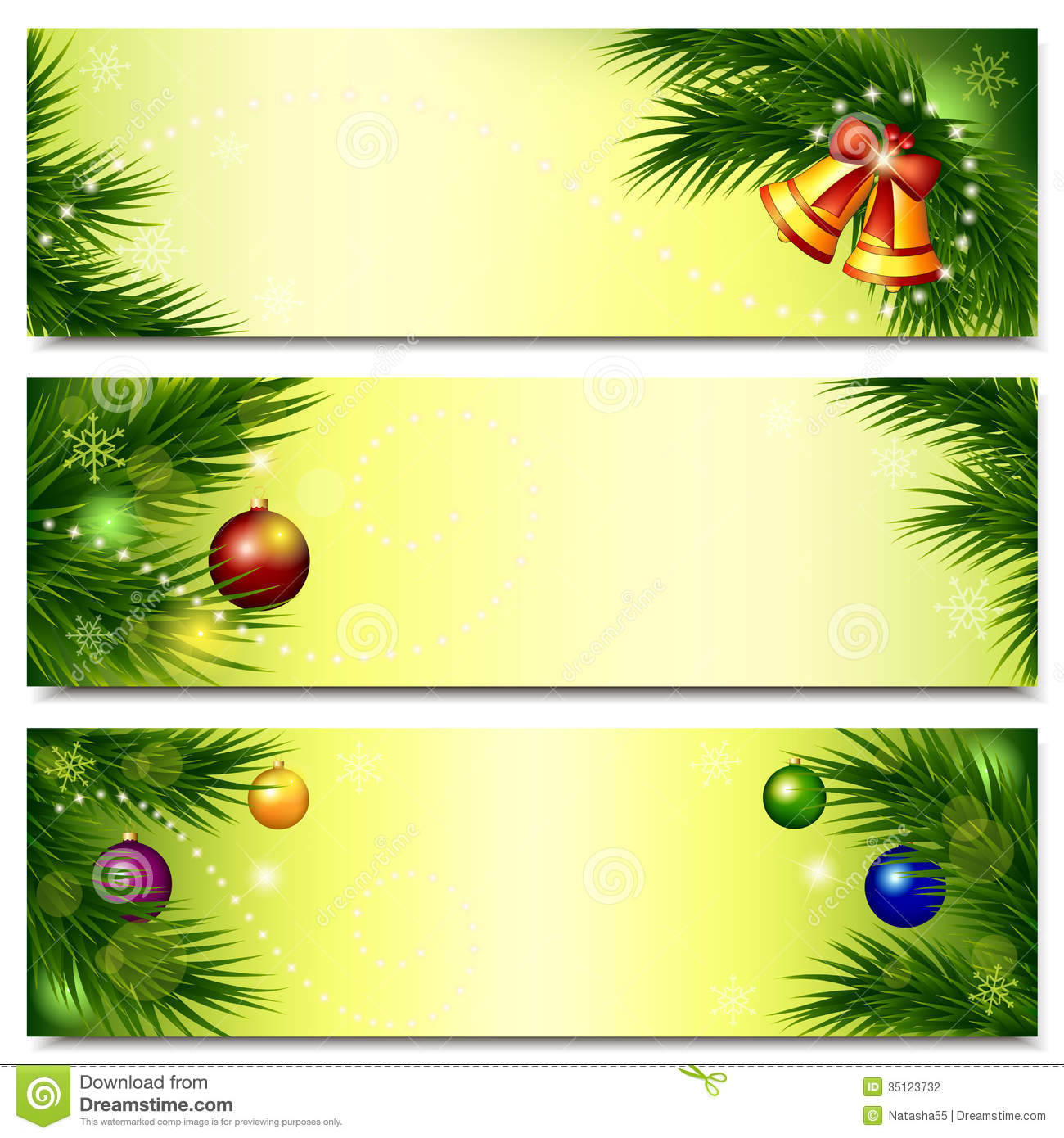 Banners With Christmas Tree, Bells And Balls Stock Photography ...
