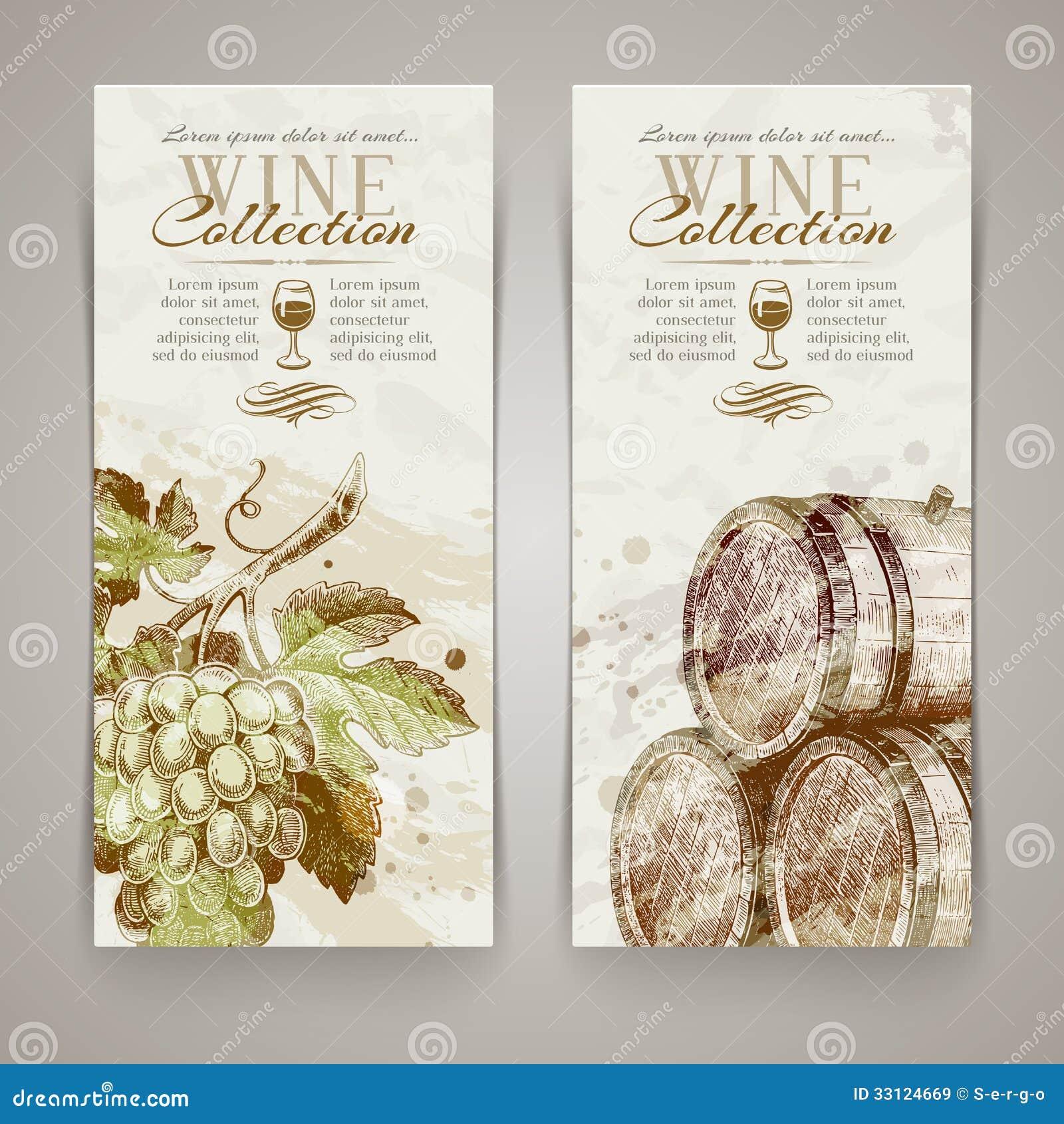 Banners met hand getrokken druiven en vaten