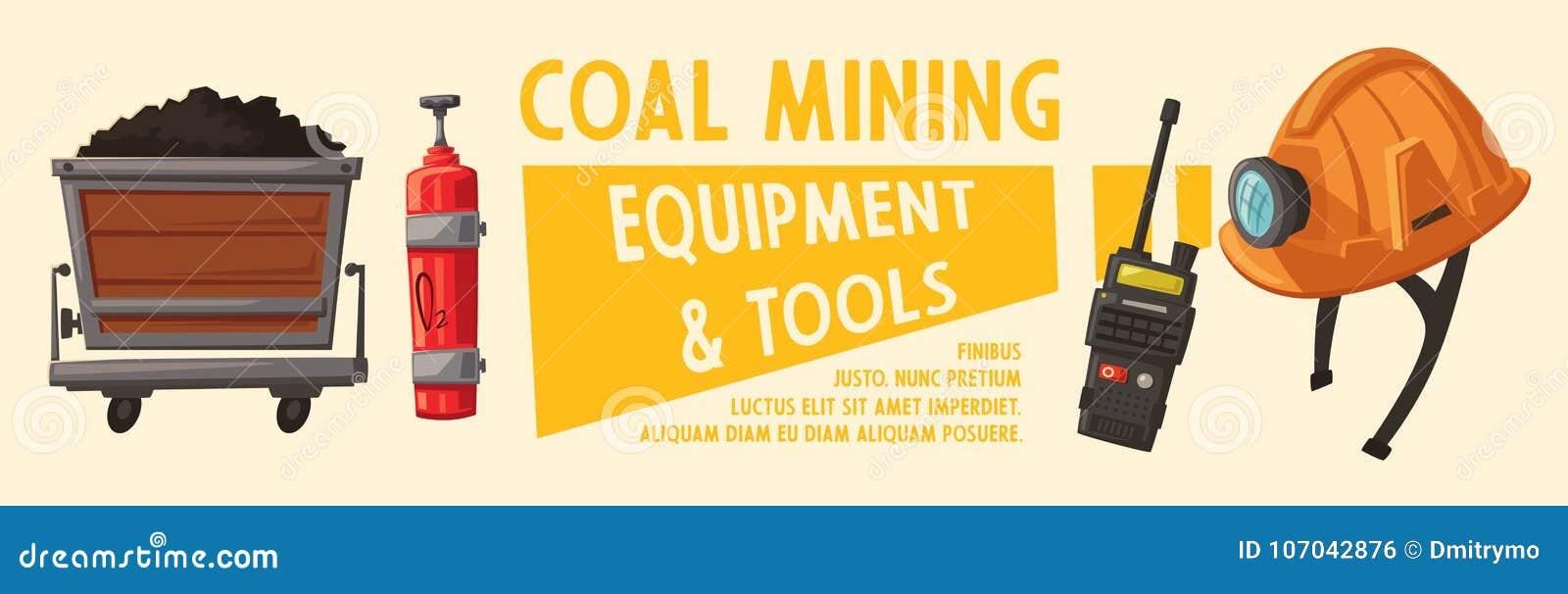 Banners met mijnbouwhulpmiddelen Arbeiders` s inventaris beeldverhaal