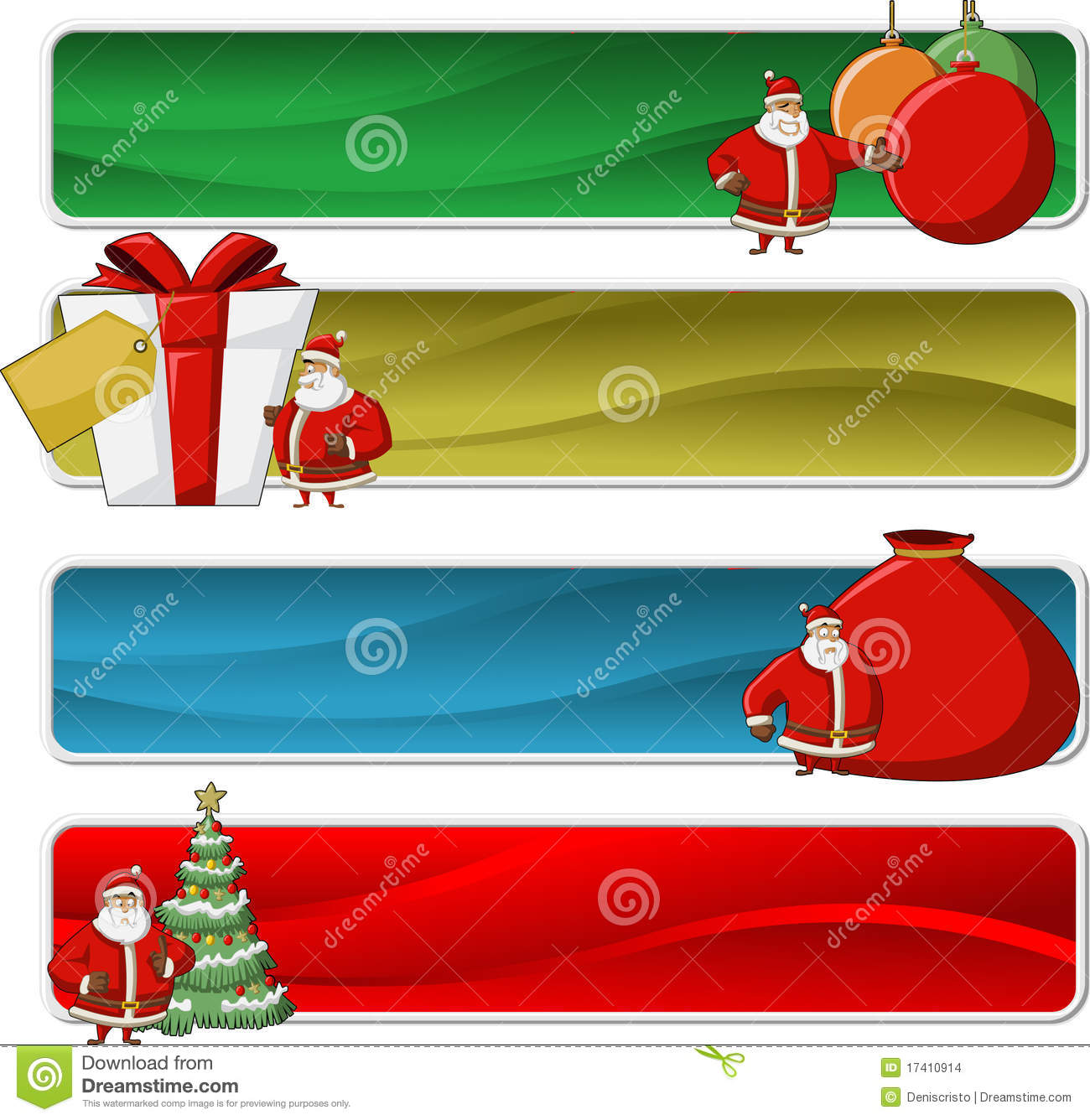 Banners of santa claus on christmas time stock images