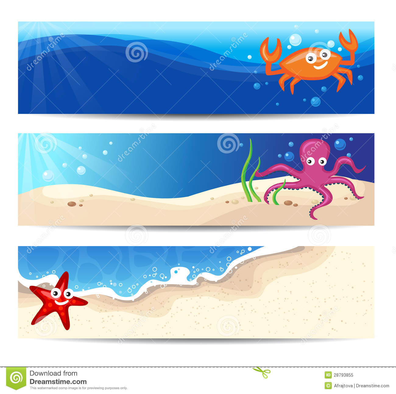 More similar stock images of banners with sea creatures