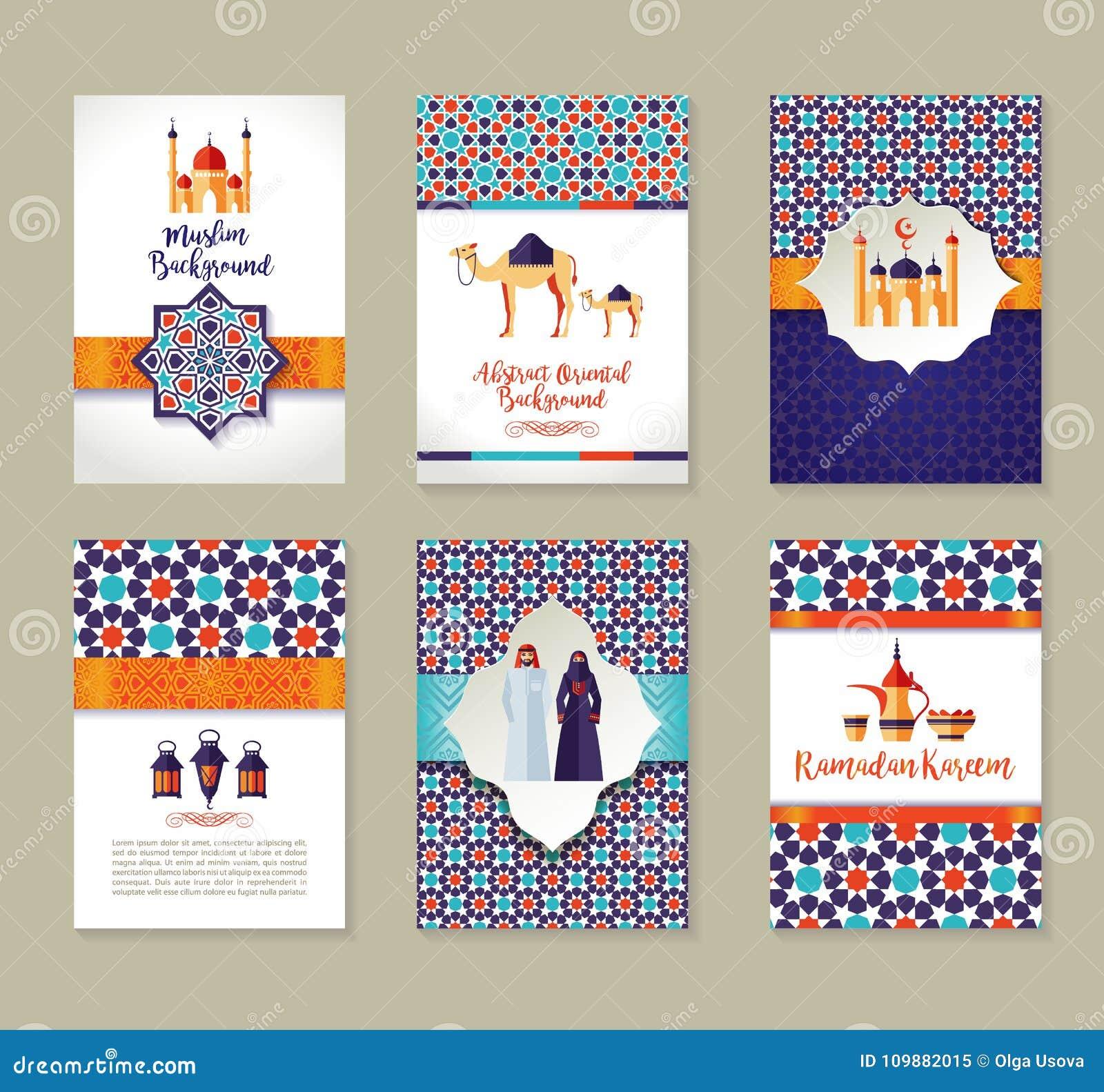 Banners set of islamic celebration. Ramadan Kareem and Eid Mubarak.