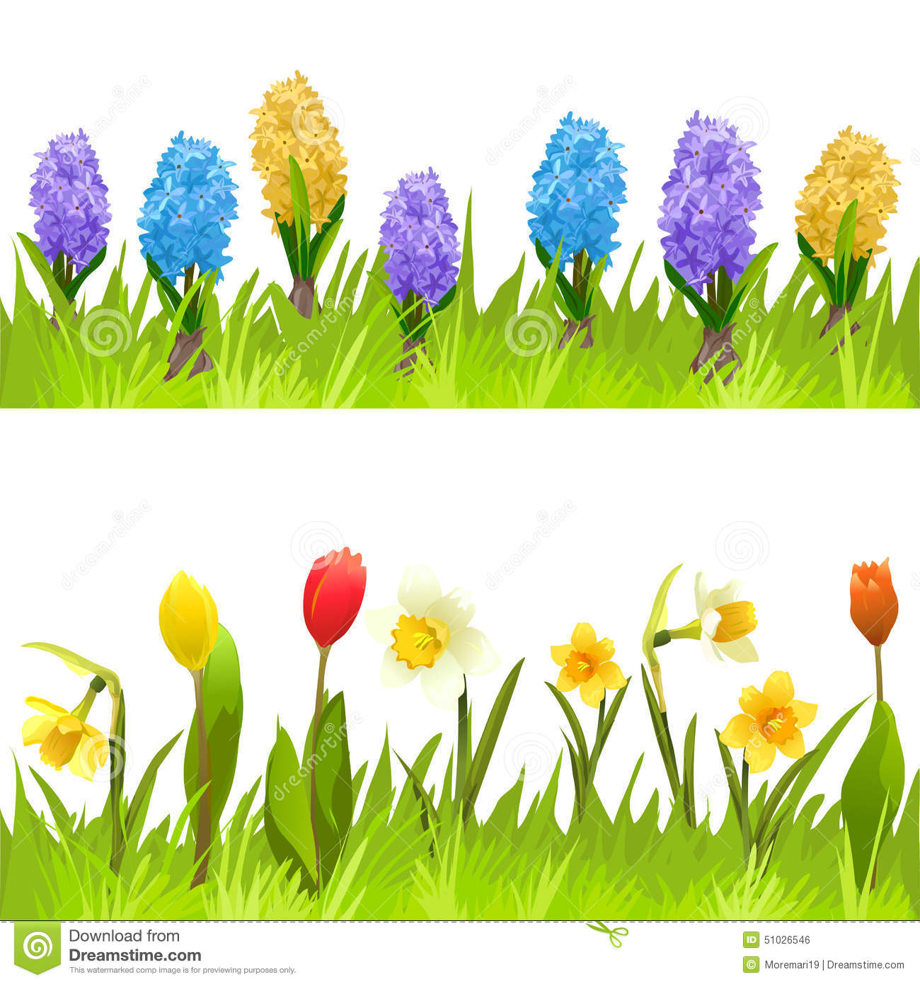 Banners With Spring Flowers, Tulips, Daffodils And ...