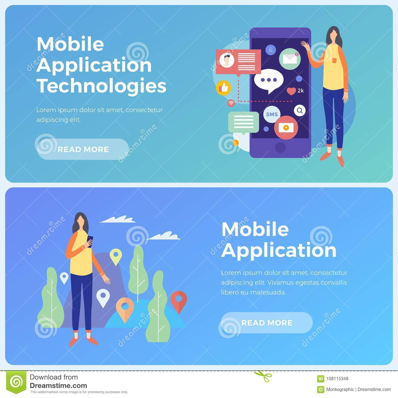 Banners on topic mobile application and Information technologies. Concept social networks and communication on Internet.