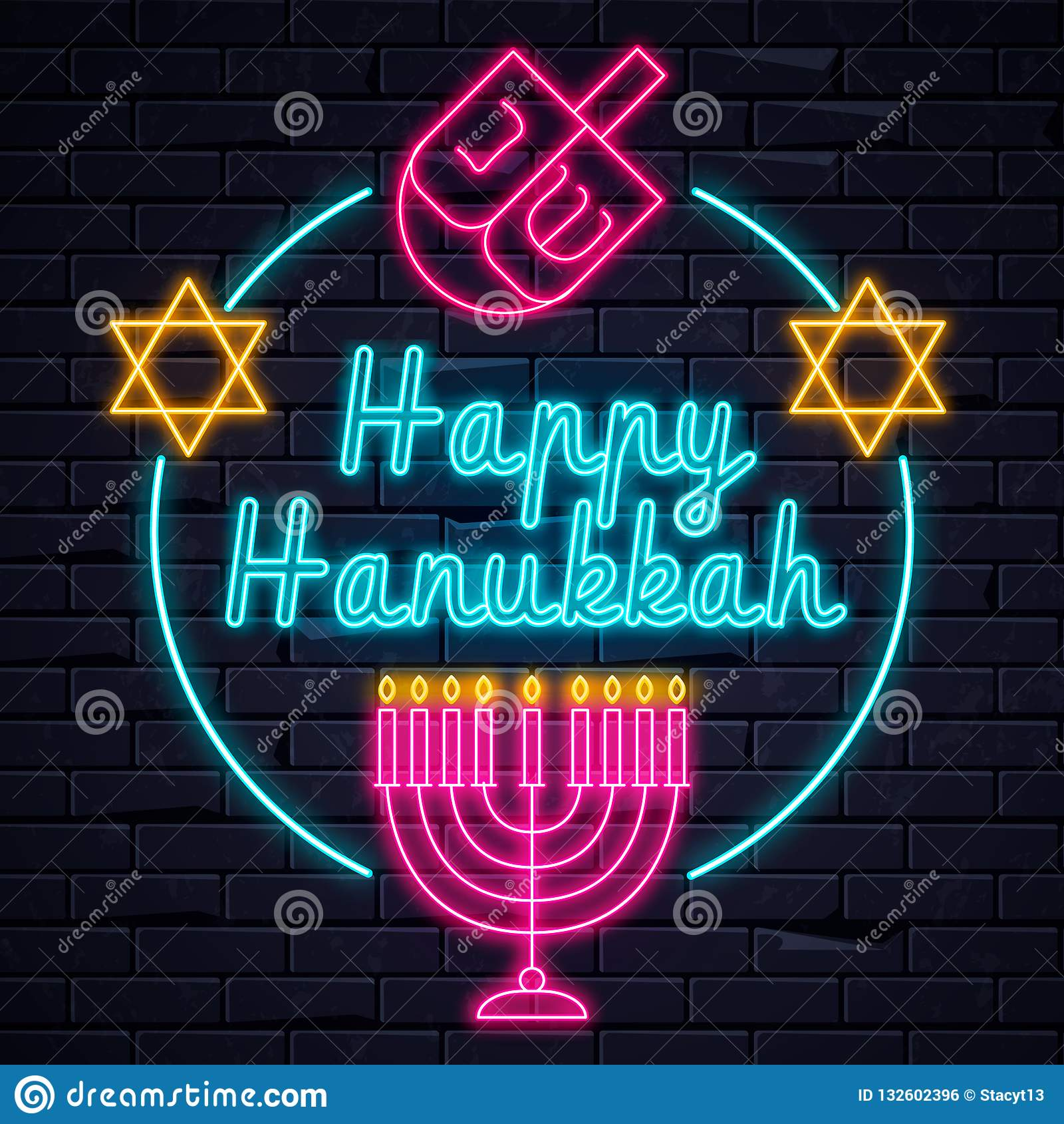 Bannière électrique lumineuse de Hanoucca d enseignes au néon de lumière heureuse de vacances rougeoyant sur le brickwall noir