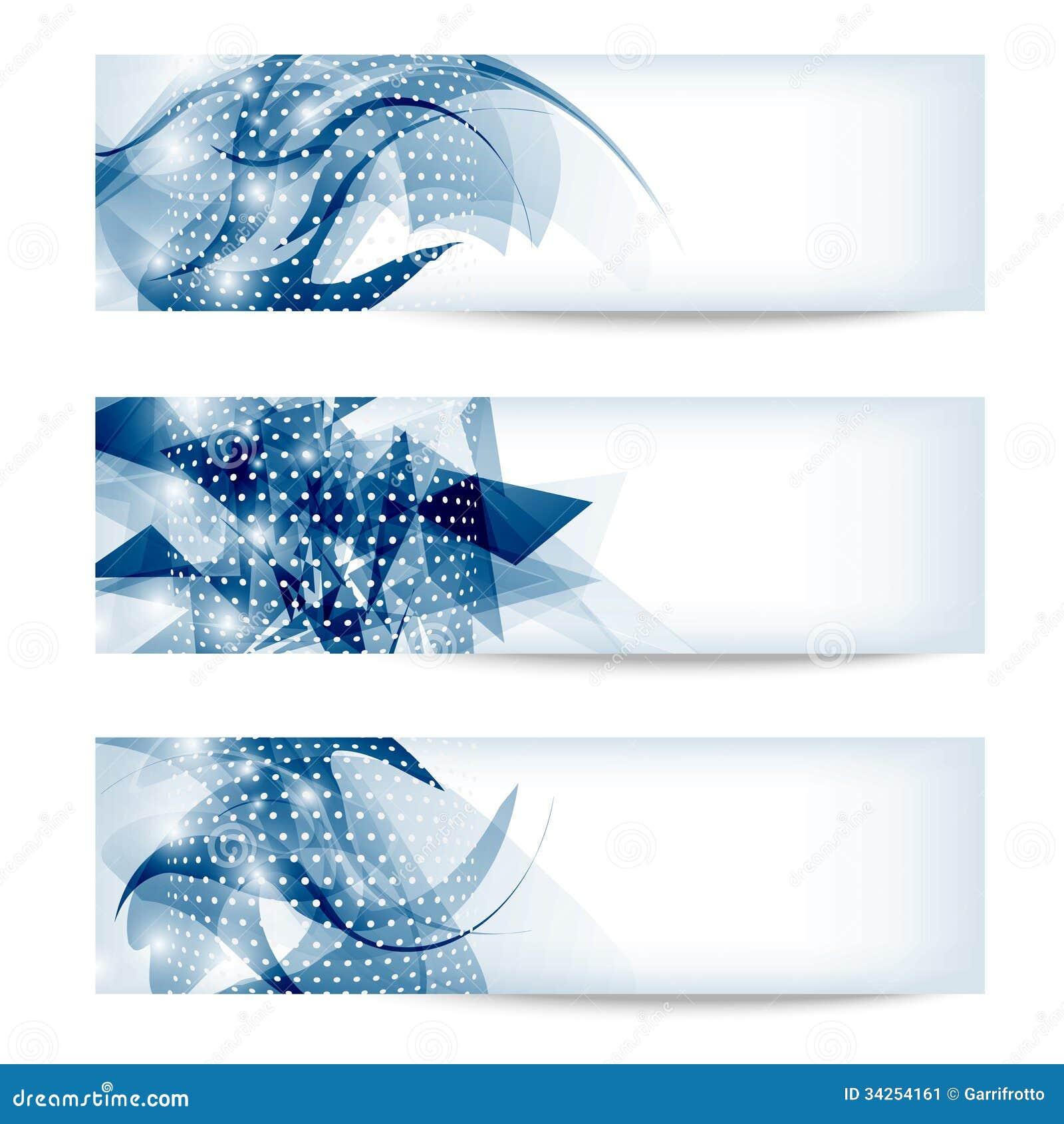Bannière abstraite bleue de l ensemble trois