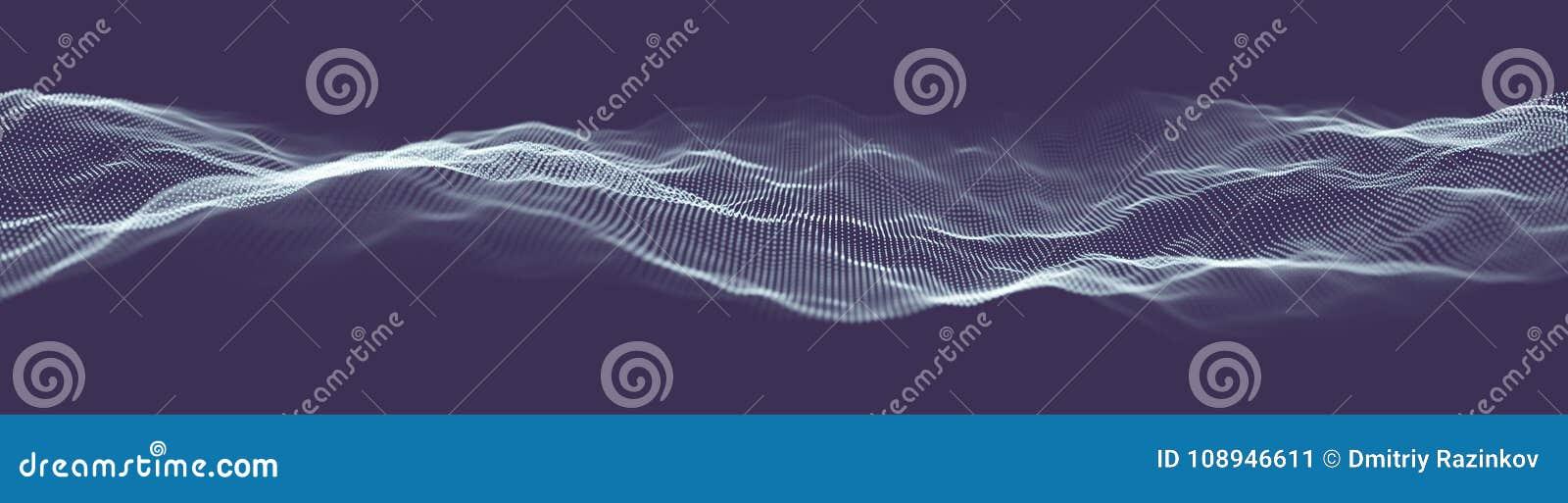 Bannière abstraite de Web de technologie Grille du fond 3d Wireframe futuriste de réseau de fil de technologie d AI Intelligence