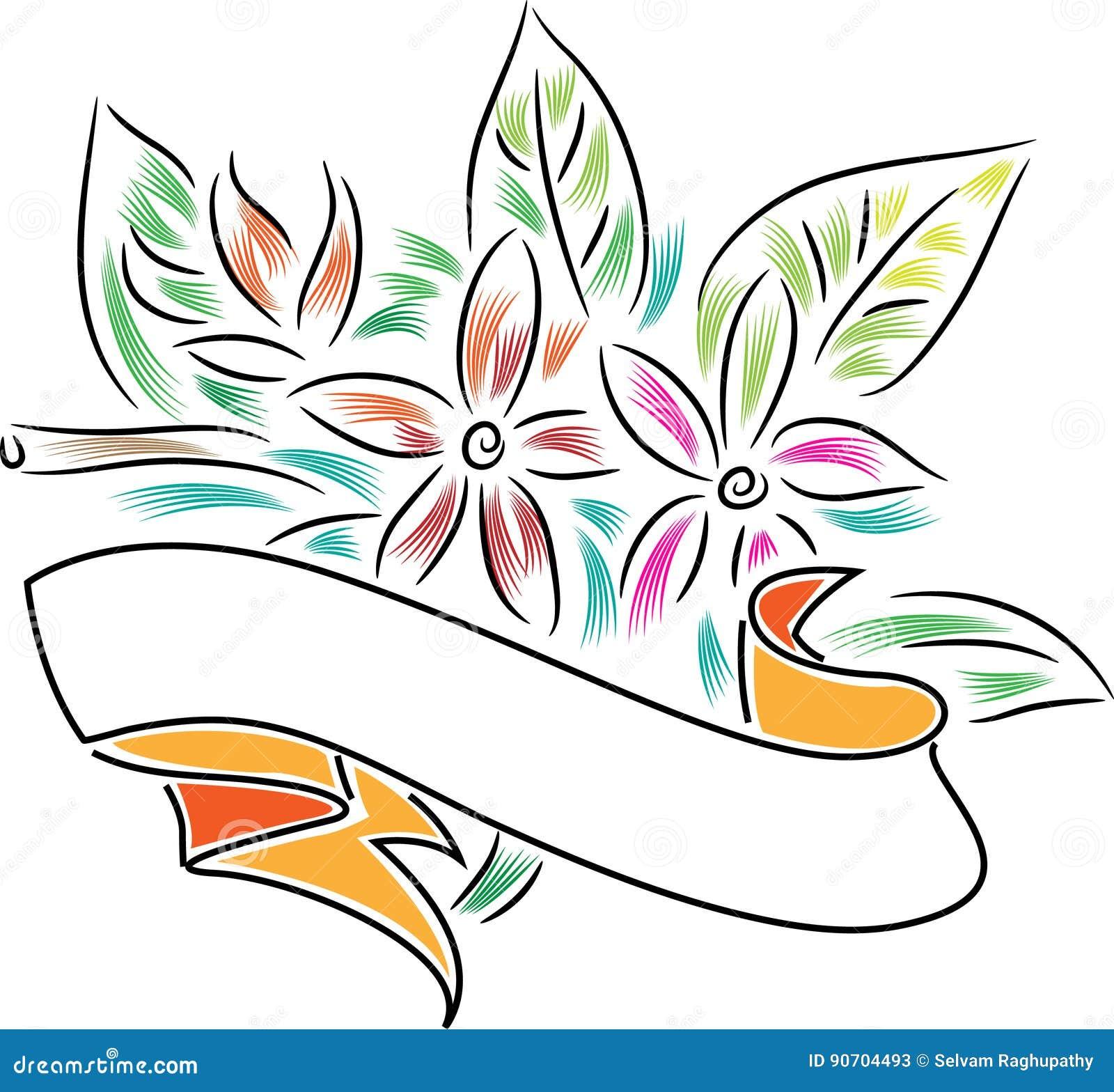 Bannière avec des fleurs