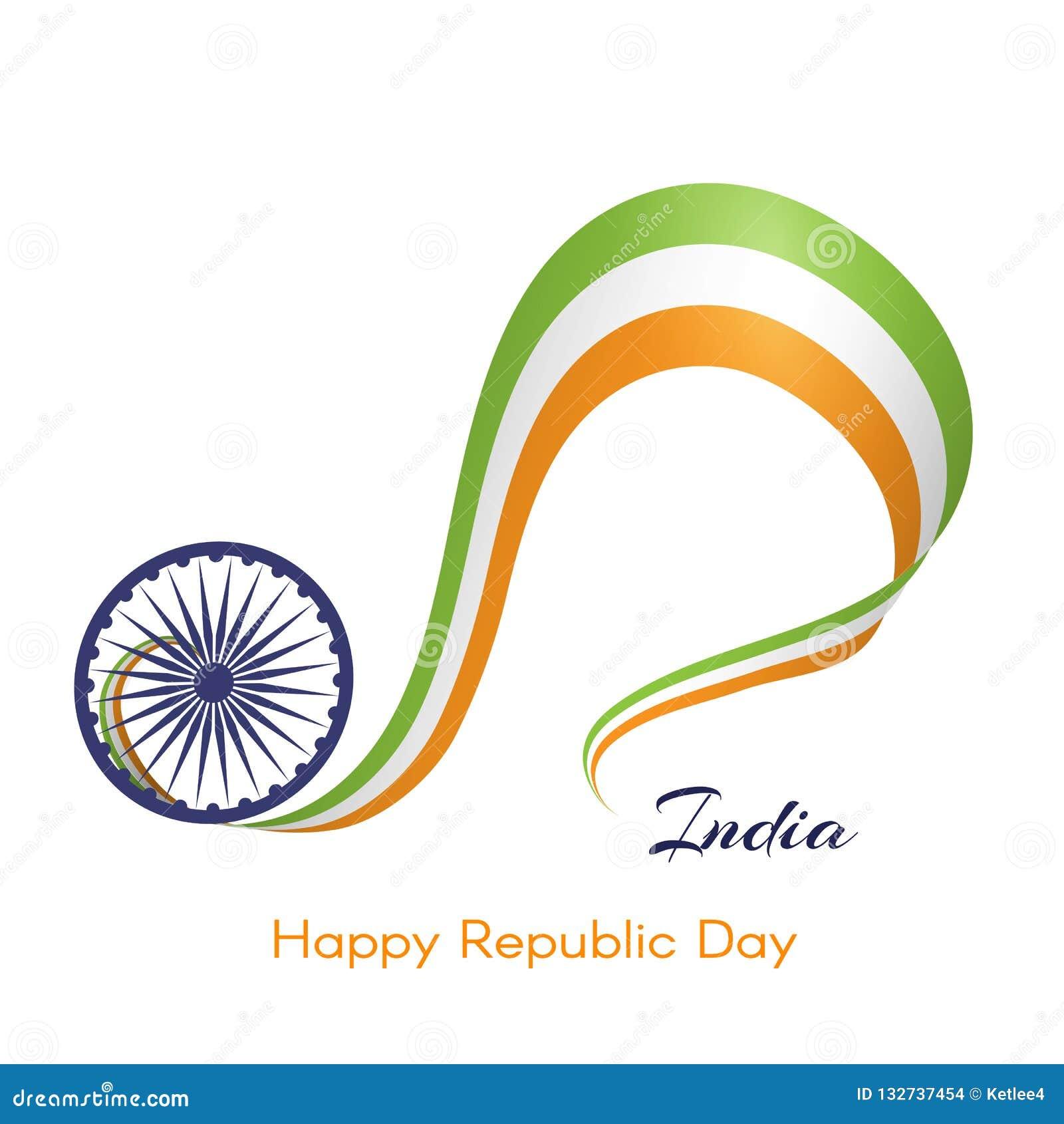 Bannière avec le ruban onduleux de couleurs du drapeau national du texte de l Inde de l élément créatif heureux du jour A de Répu
