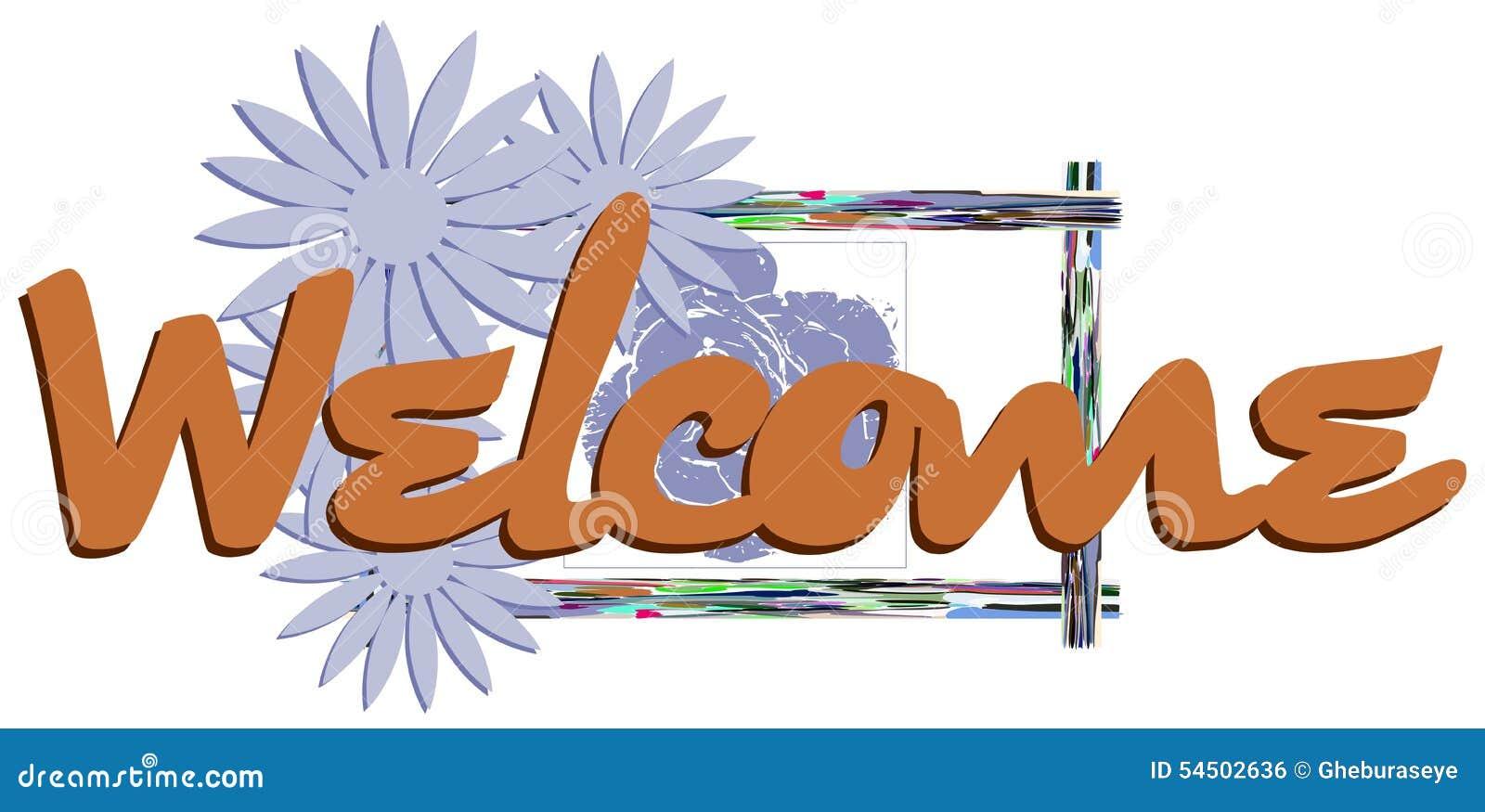 Bannière bienvenue avec l imagination florale d isolement