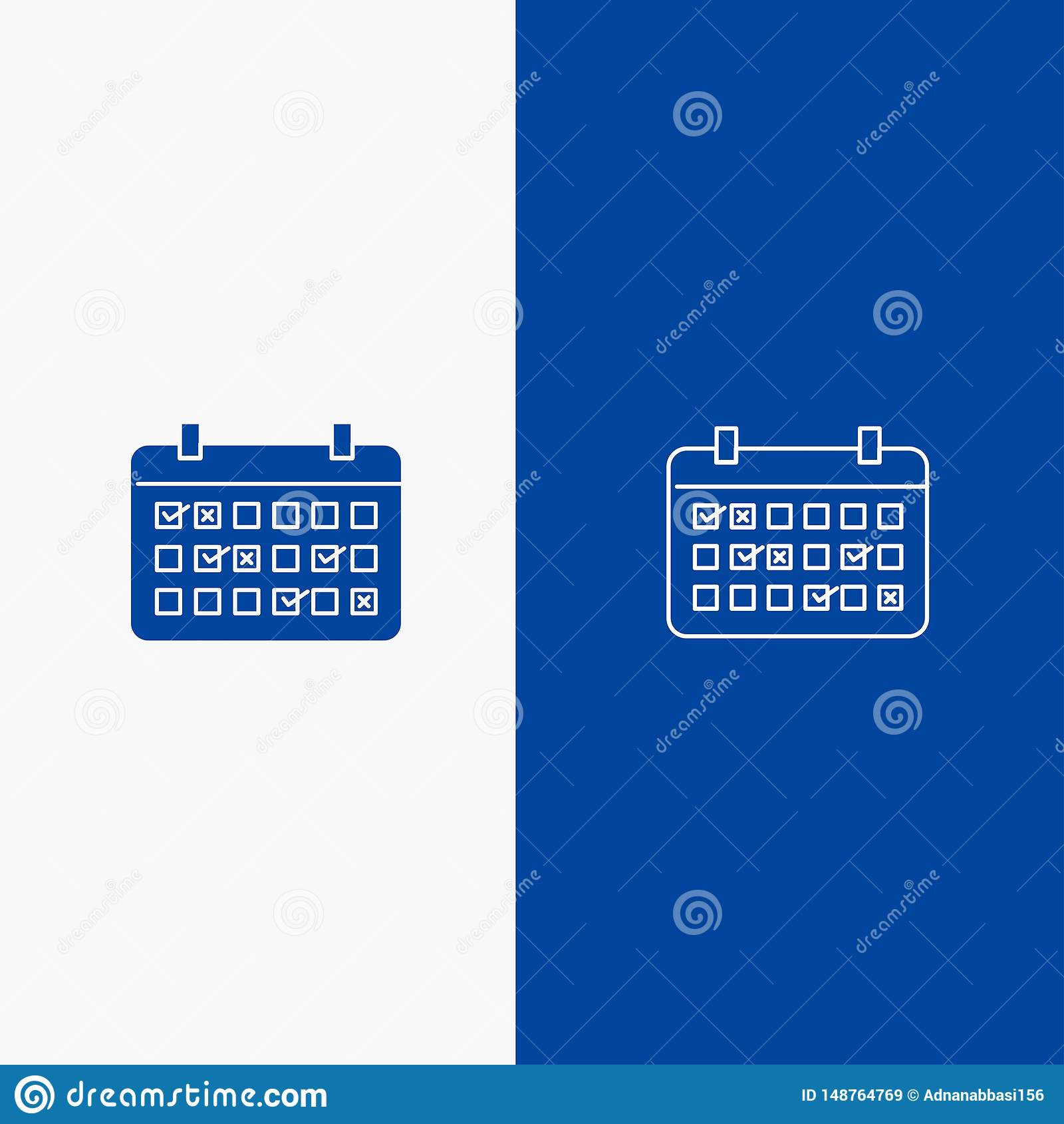 Bannière bleue de bannière d icône solide de calendrier, de date, de mois, d année, de ligne de temps et de Glyph d icône solide
