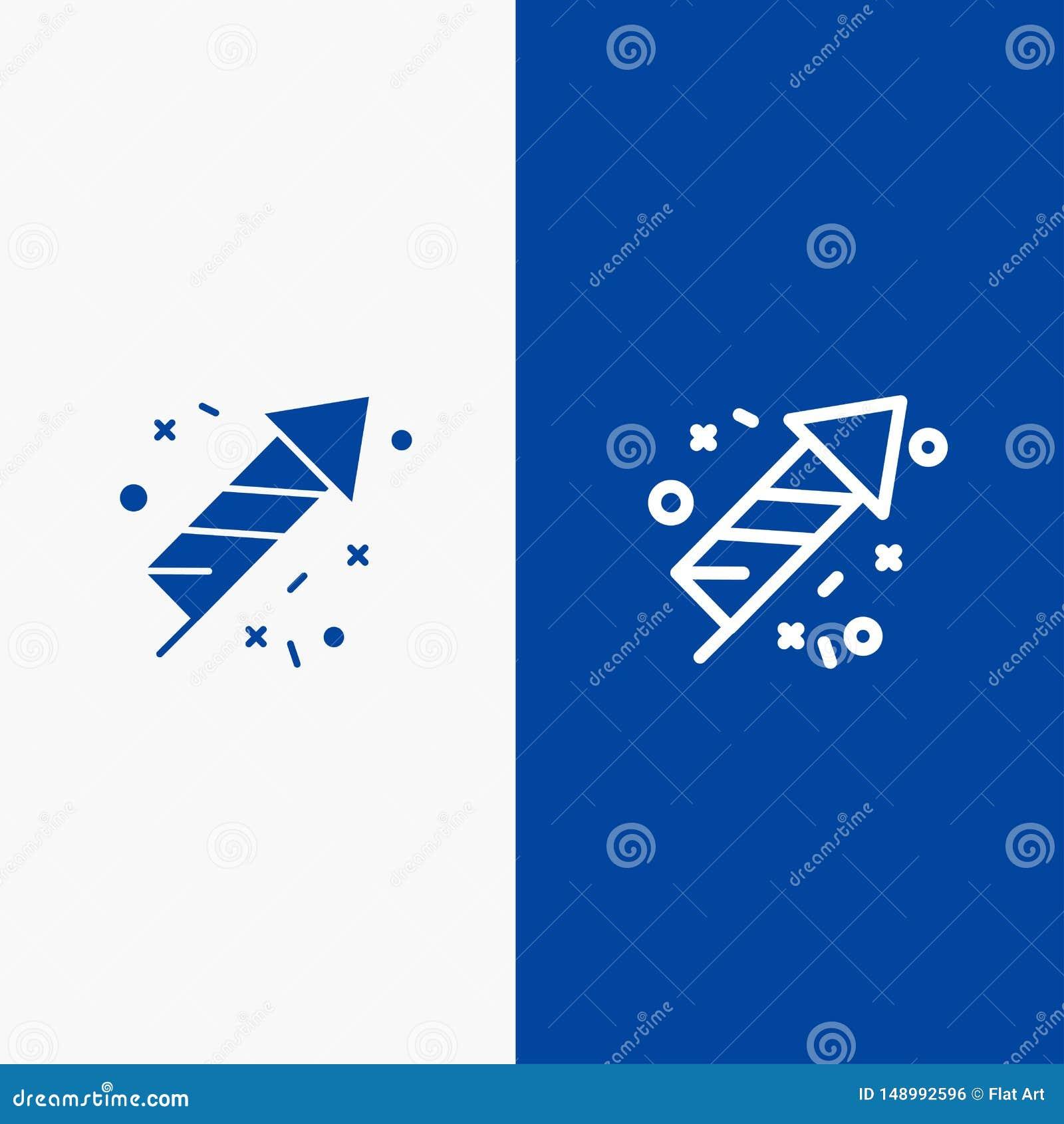 Bannière bleue de bannière d icône solide de travail du feu, de feu, du Canada, de ligne et de Glyph d icône solide bleue de lign