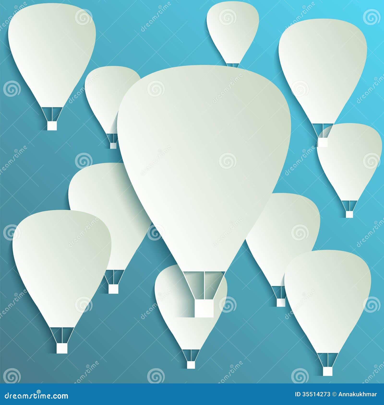 Bannière chaude de papier de ballon à air avec des ombres de baisse