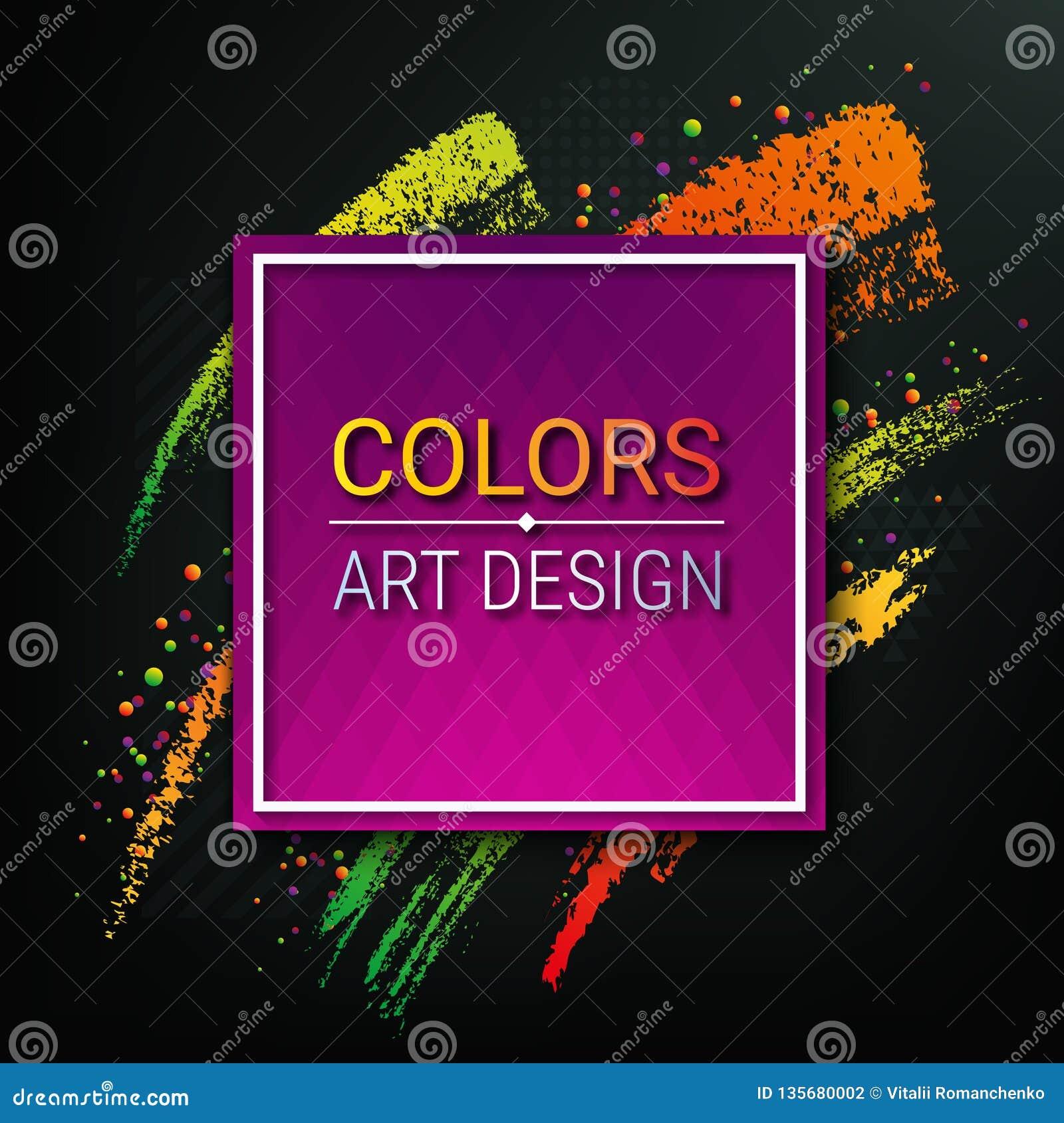 Bannière colorée sur un fond foncé Cadre artistique de vecteur pour le texte Courses dynamiques de brosse Une partie de craie Pei