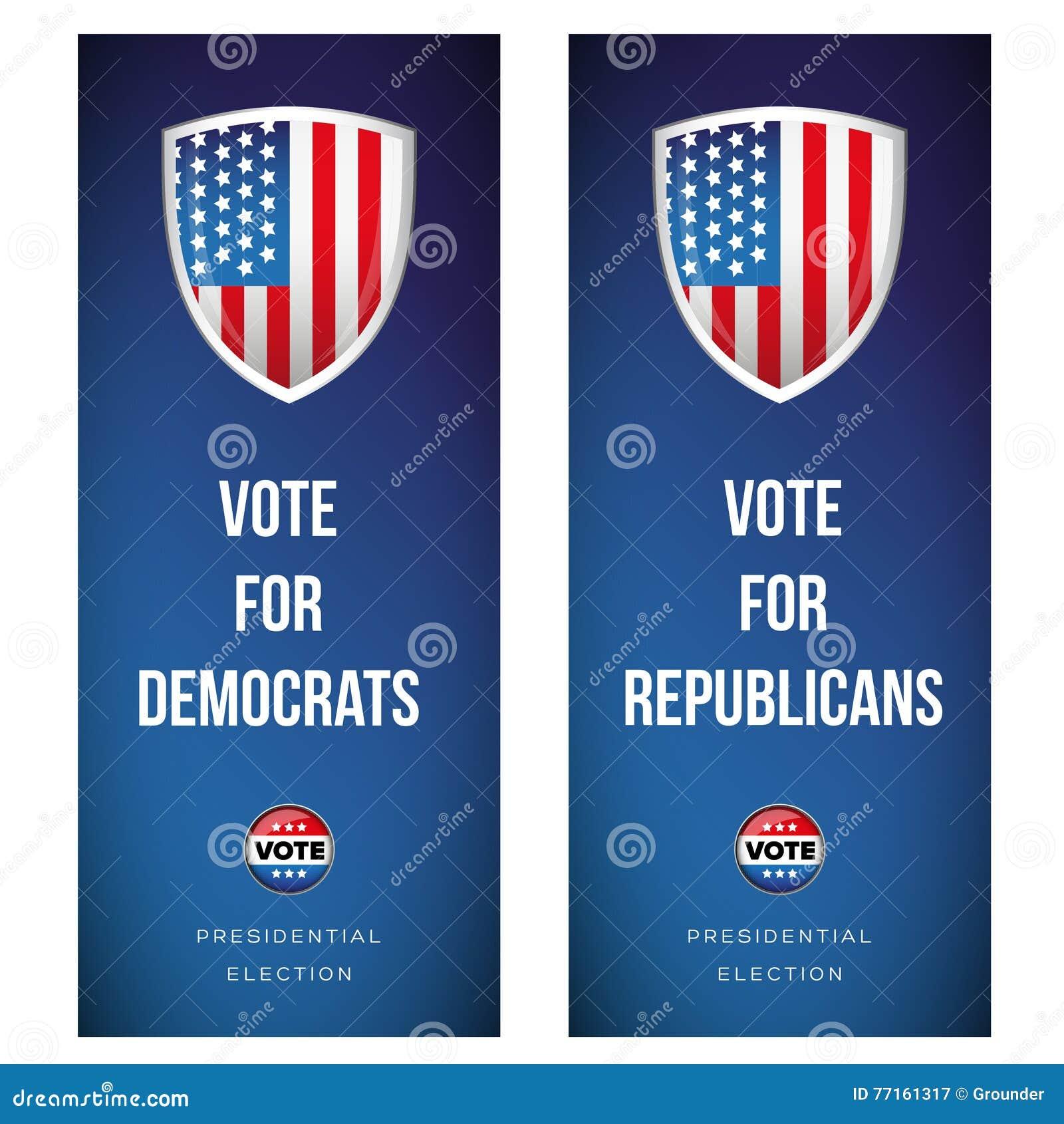 Bannière d élection réglée avec le drapeau des Etats-Unis