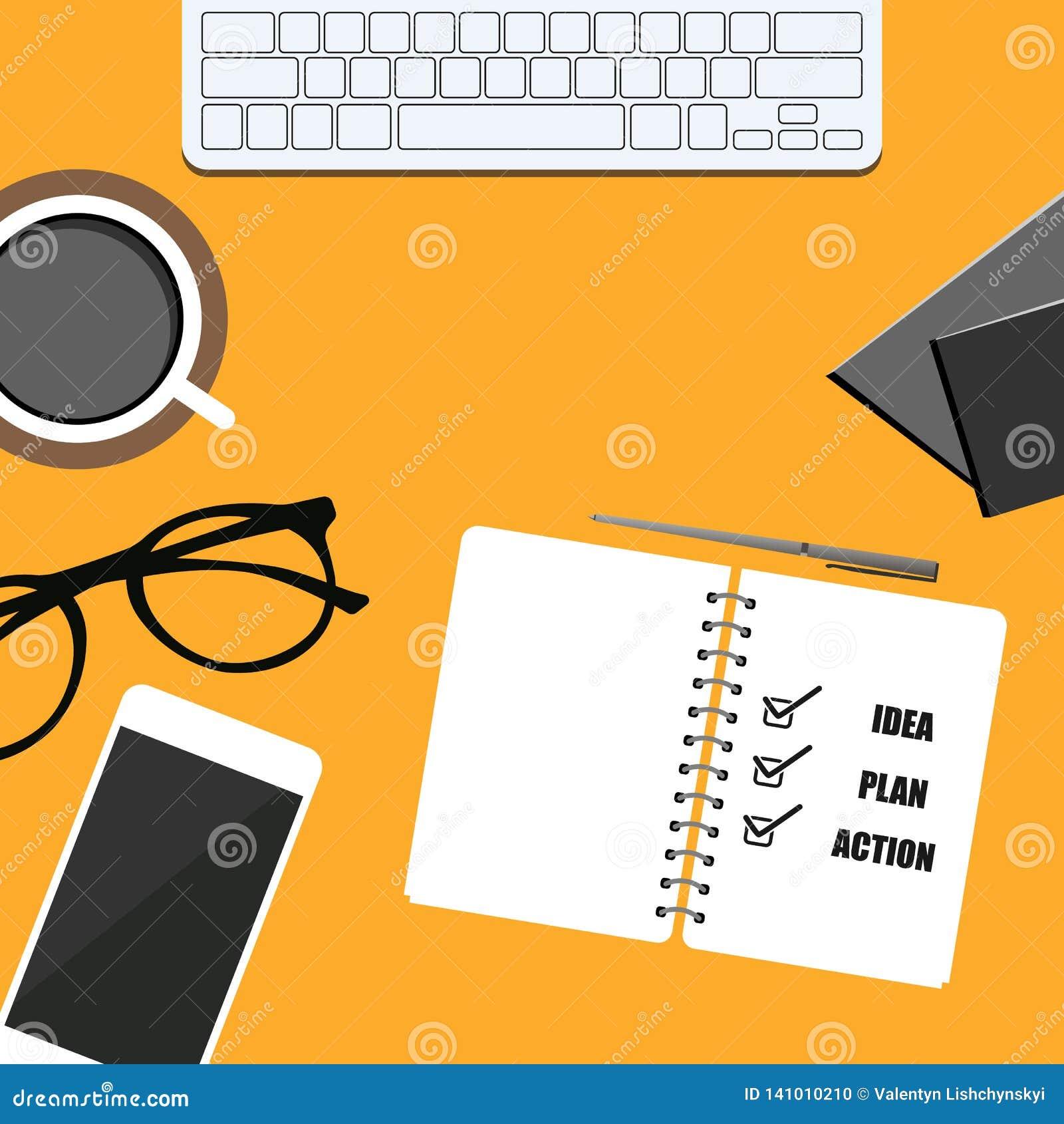 Bannière d affaires téléphone, bloc-notes, café, verres et carnet plan, idée et action Conception eps10 de vecteur