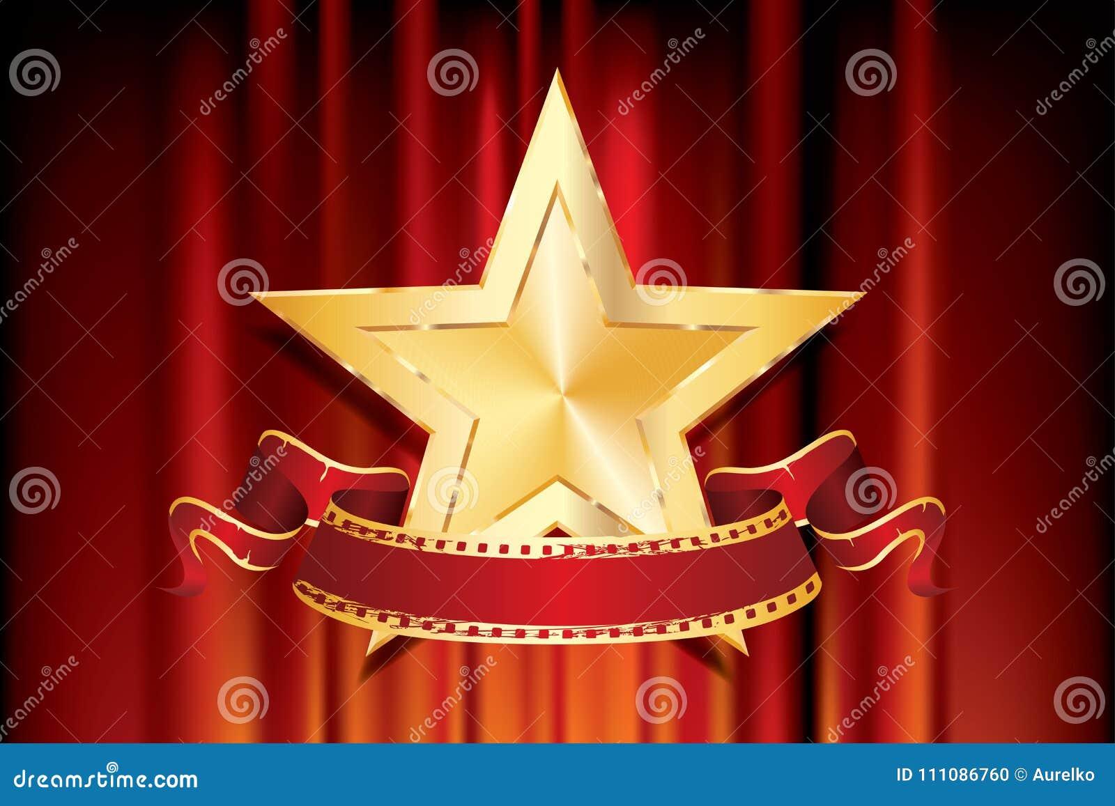 Bannière d or de rouge d étoile