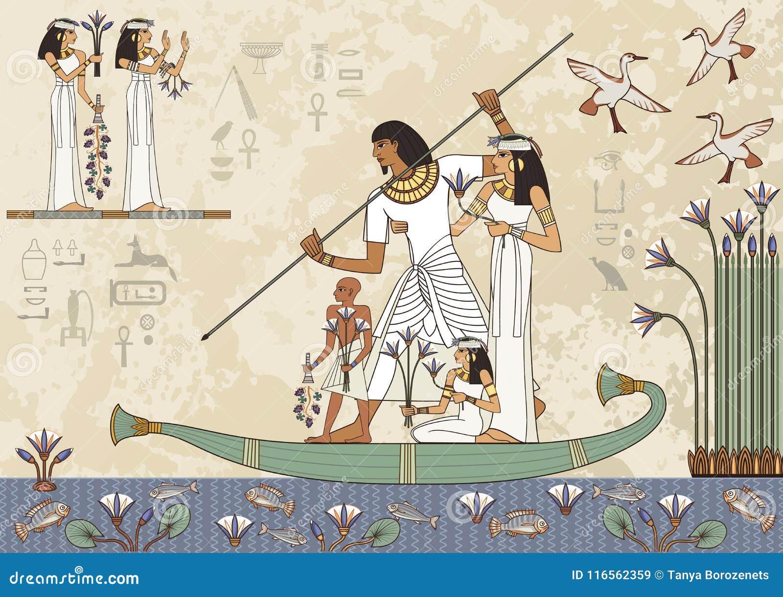 Bannière D Egypte Antique Peintures Murales Avec La Scène D