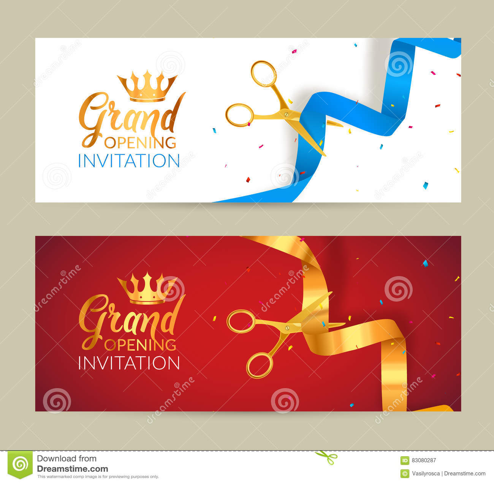 Banniere D Invitation D Ouverture Officielle Le Ruban D Or Et Le