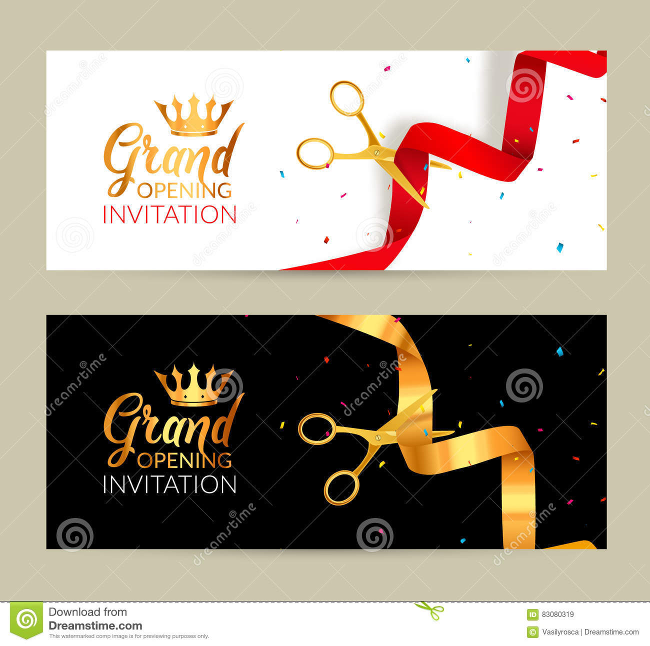 Banniere D Invitation D Ouverture Officielle Le Ruban D Or Et Le