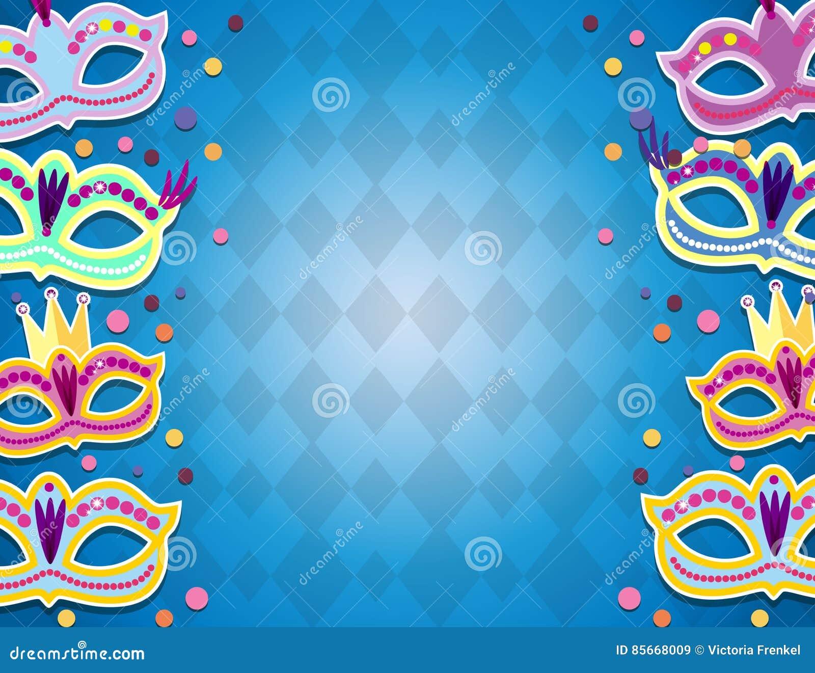 Bannière de carnaval avec les icônes plates d autocollant réglées Illustration de vecteur Concept de mascarade