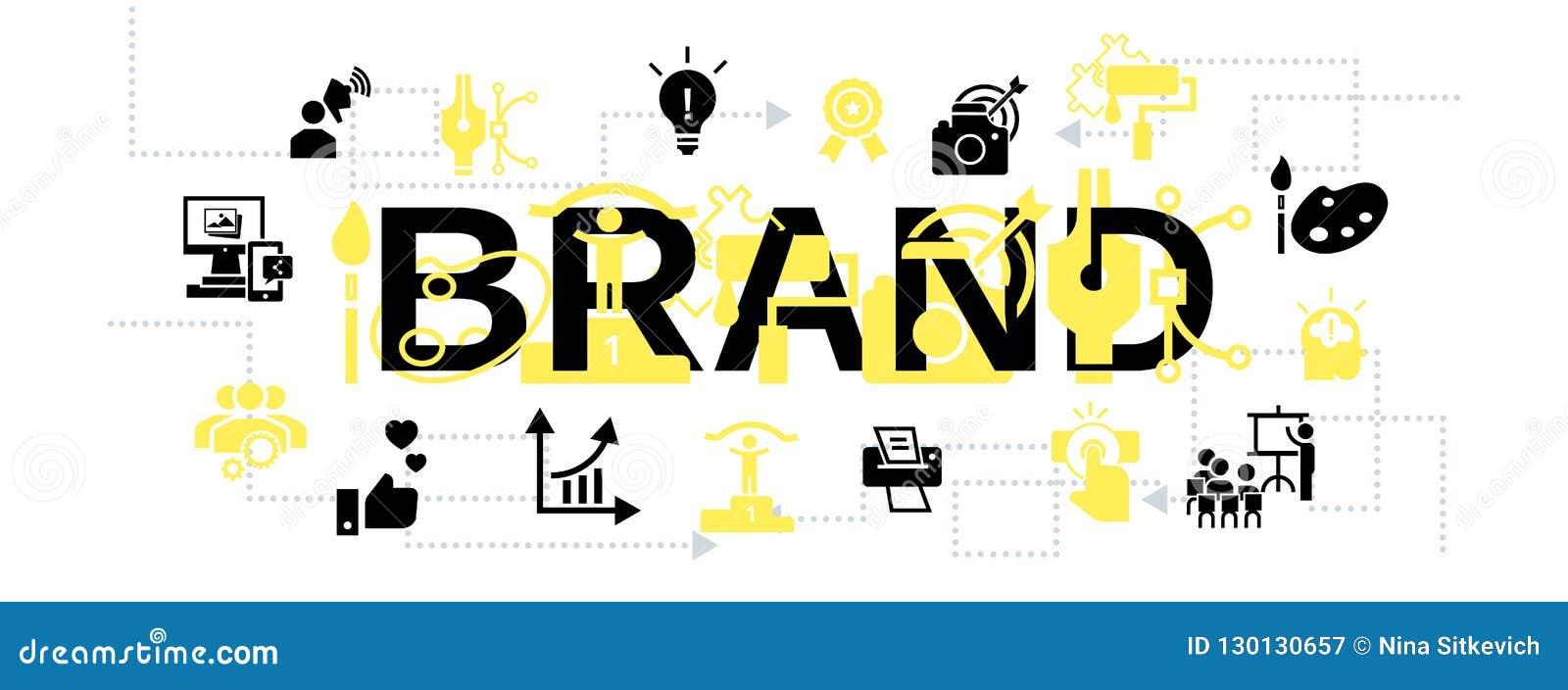 6e226b2ea1b Bannière de concept de société de marque Illustration simple de la bannière  de concept de vecteur de société de marque pour la conception web  d isolement ...