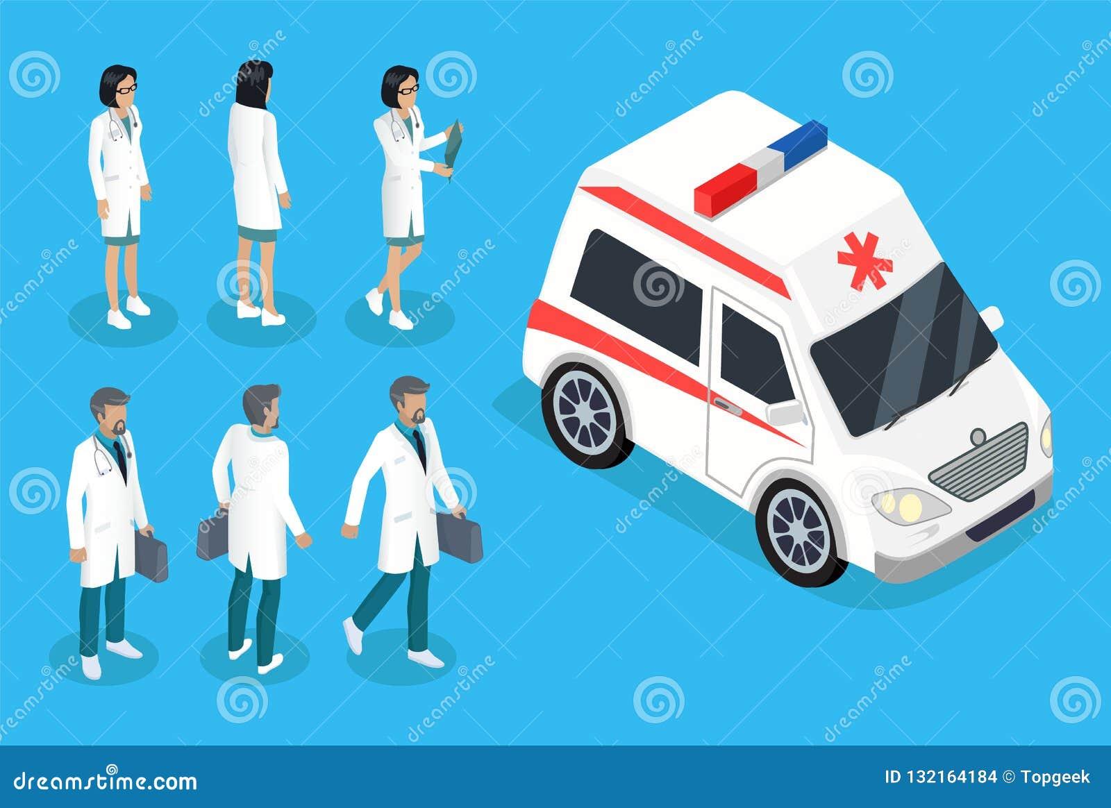 Bannière de couleur d infirmière et de docteur Near Ambulance Car