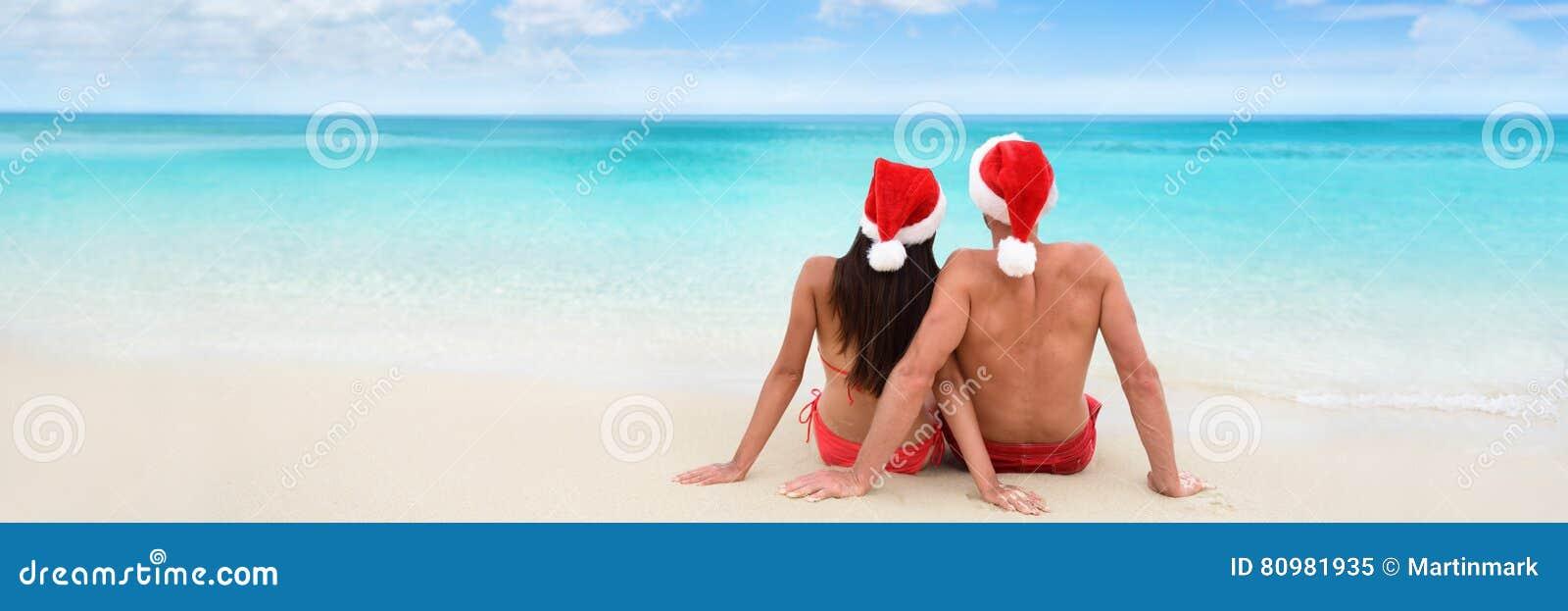 Bannière de couples de vacances de vacances de plage de Noël