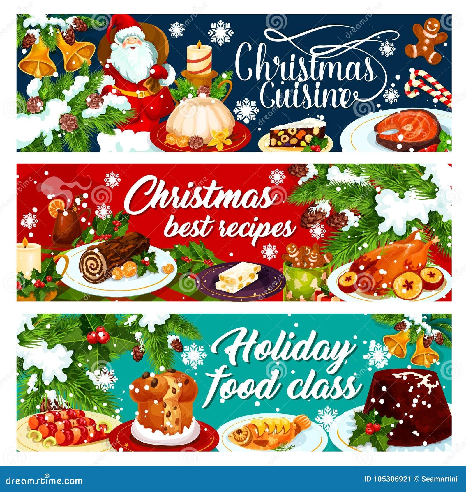 Bannière de dîner de Noël avec la nourriture de vacances d hiver