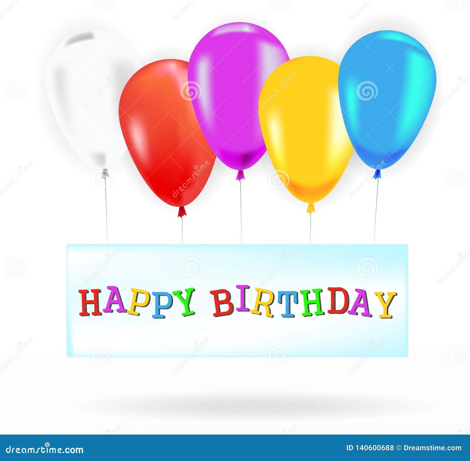 Bannière de joyeux anniversaire avec des ballons de couleur