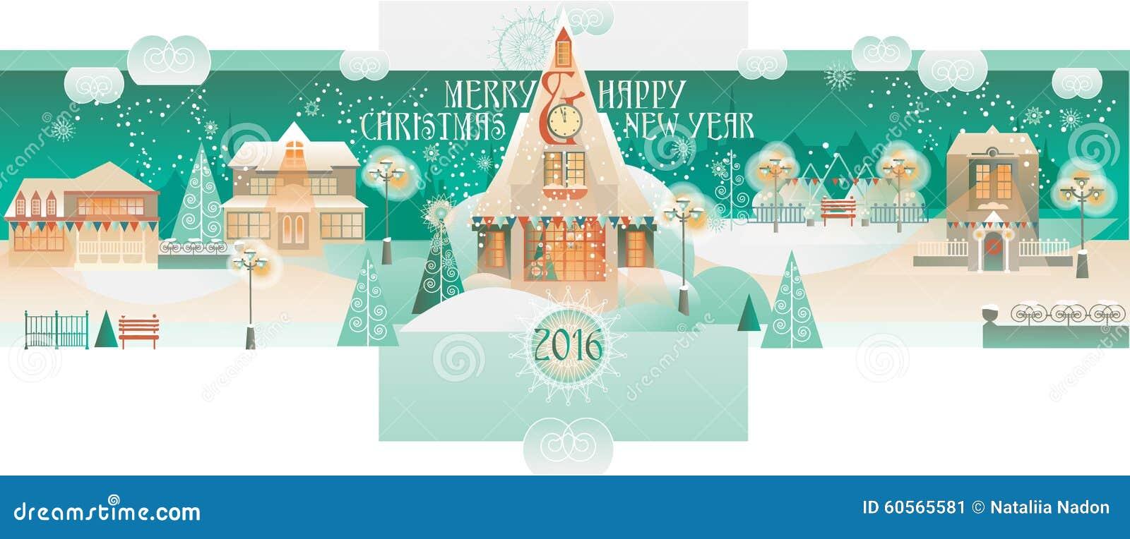 Bannière de Noël de vintage avec Eve Cityscape