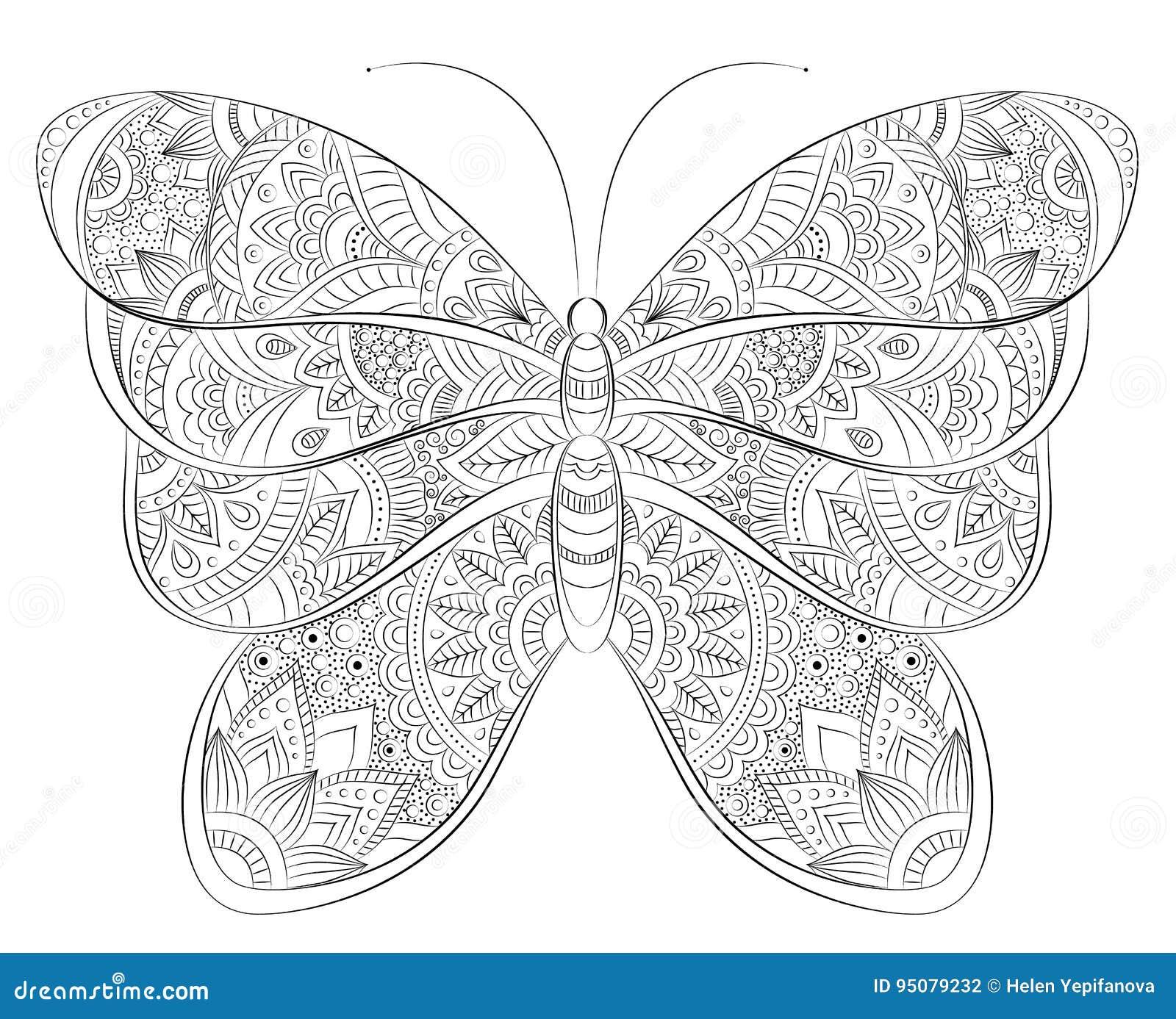 Bannière De Papillon De Zentangle De Griffonnage De Vecteur Souhait