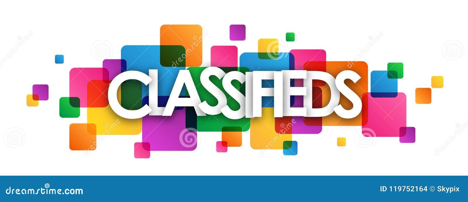 Bannière de recouvrement colorée de places de CLASSIFIEDS